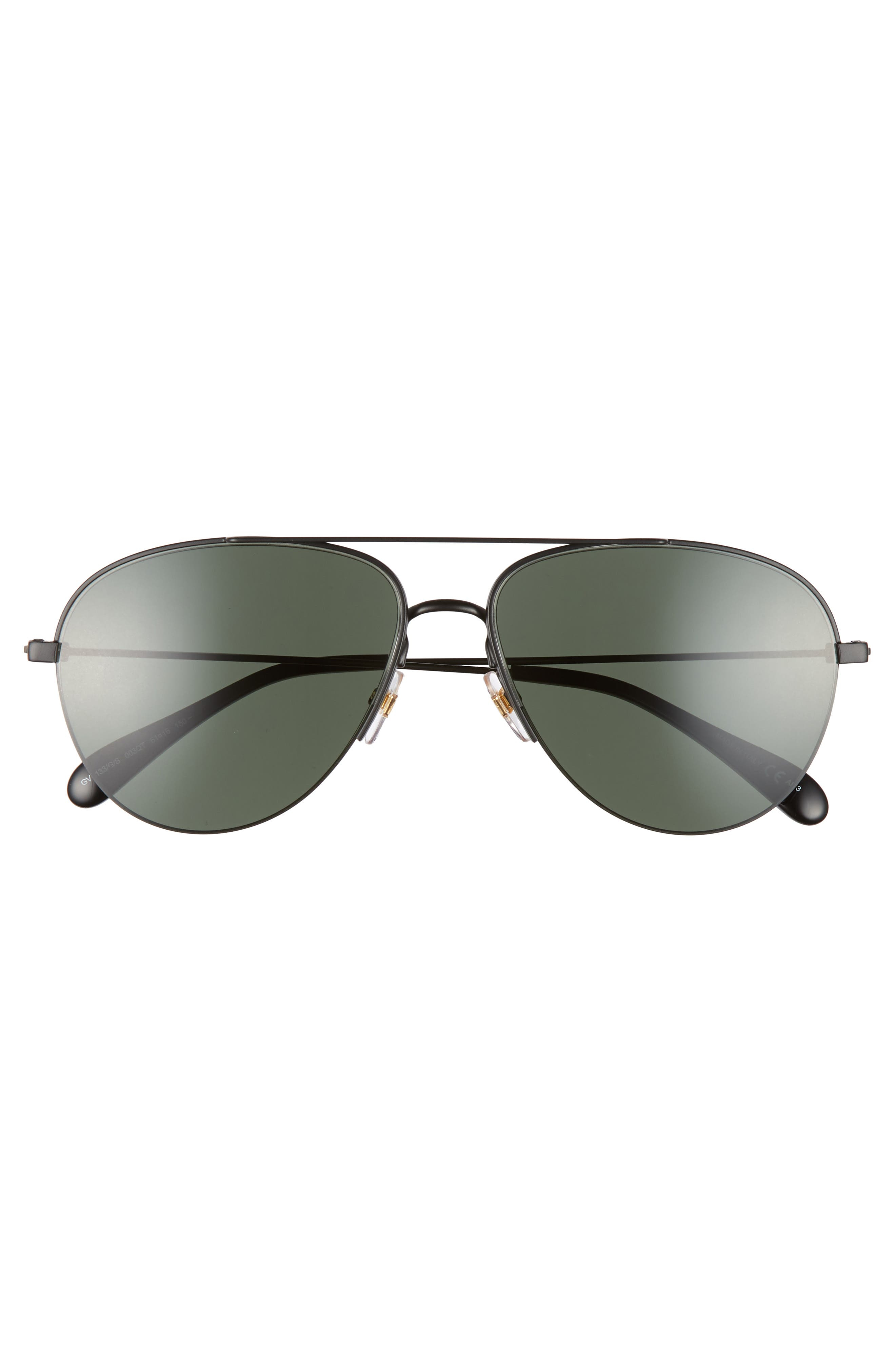 GIVENCHY,                             61mm Aviator Sunglasses,                             Alternate thumbnail 3, color,                             MATTE BLACK
