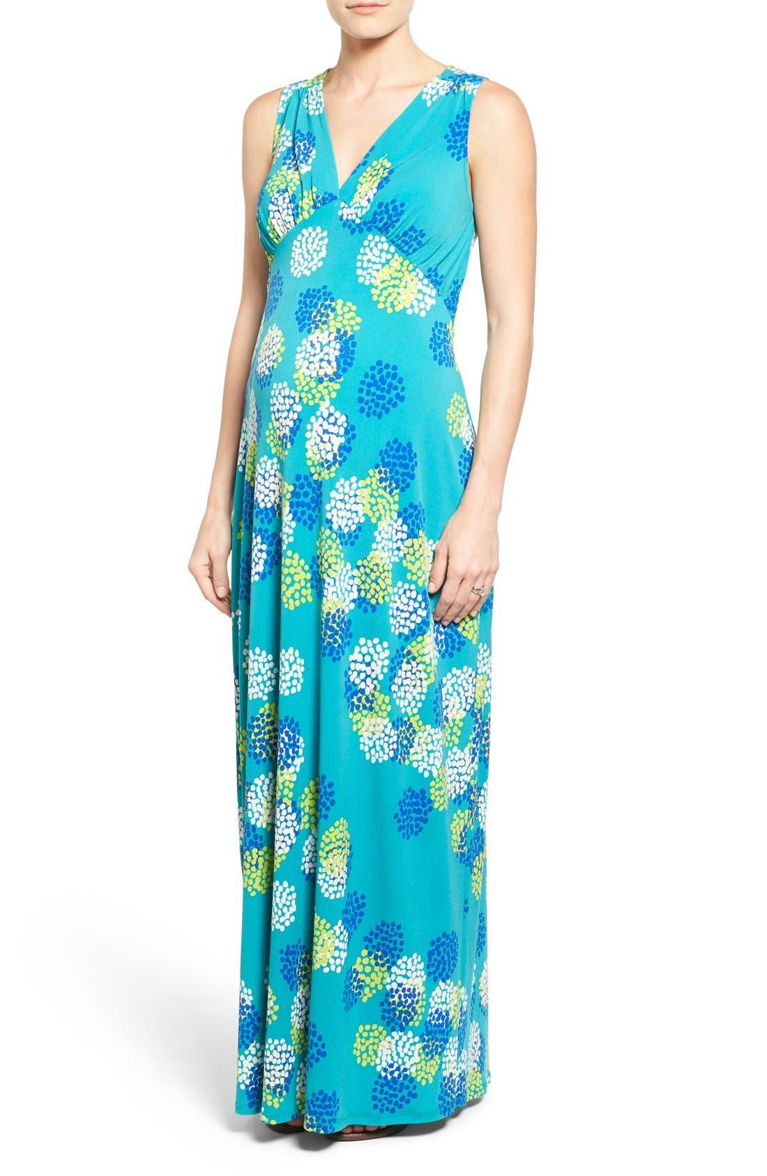 'Isabella' V-Neck Maternity Maxi Dress,                         Main,                         color, DAHLIA