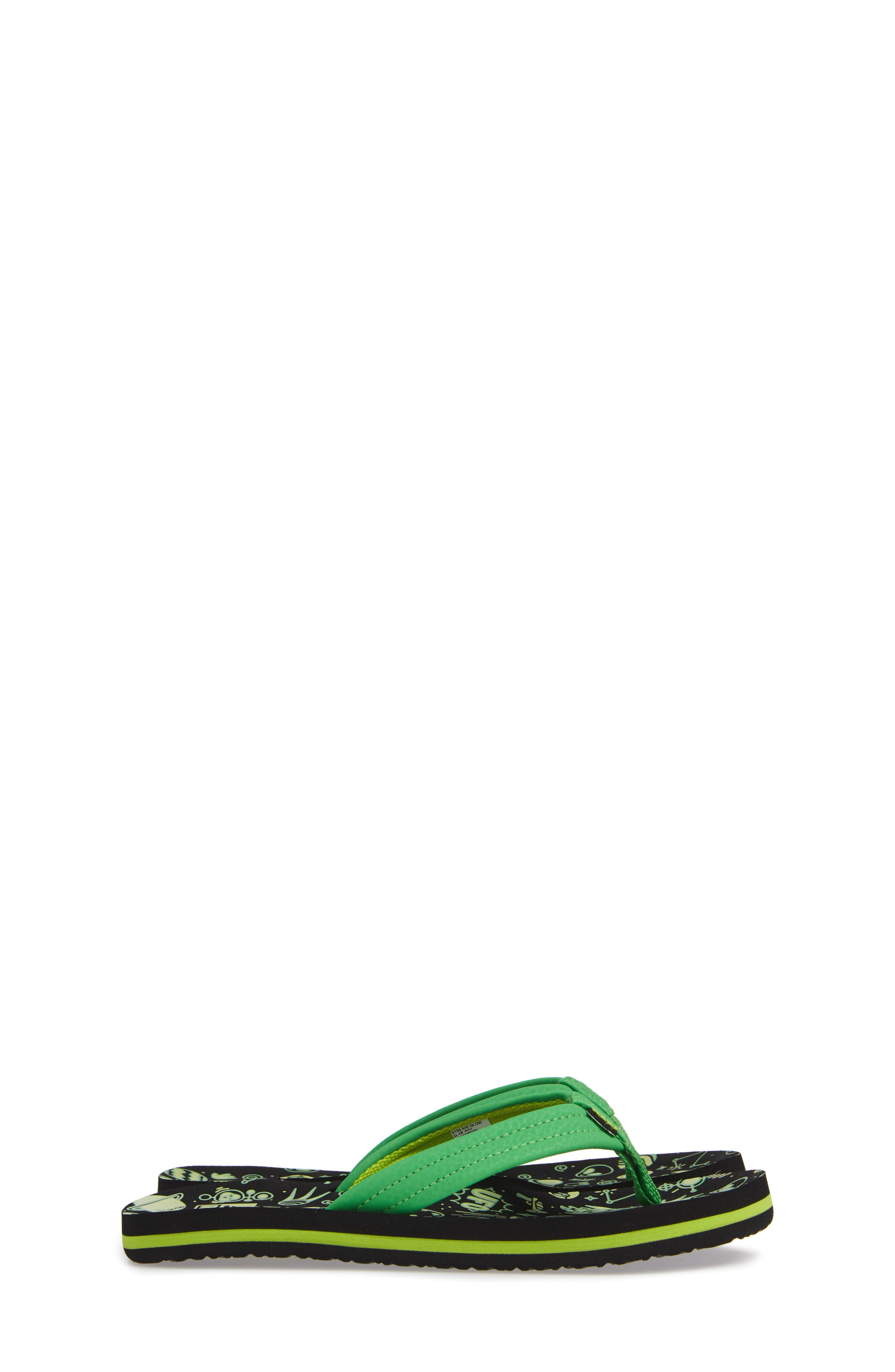 Ahi Glow in the Dark Flip Flop,                             Alternate thumbnail 4, color,                             GREEN