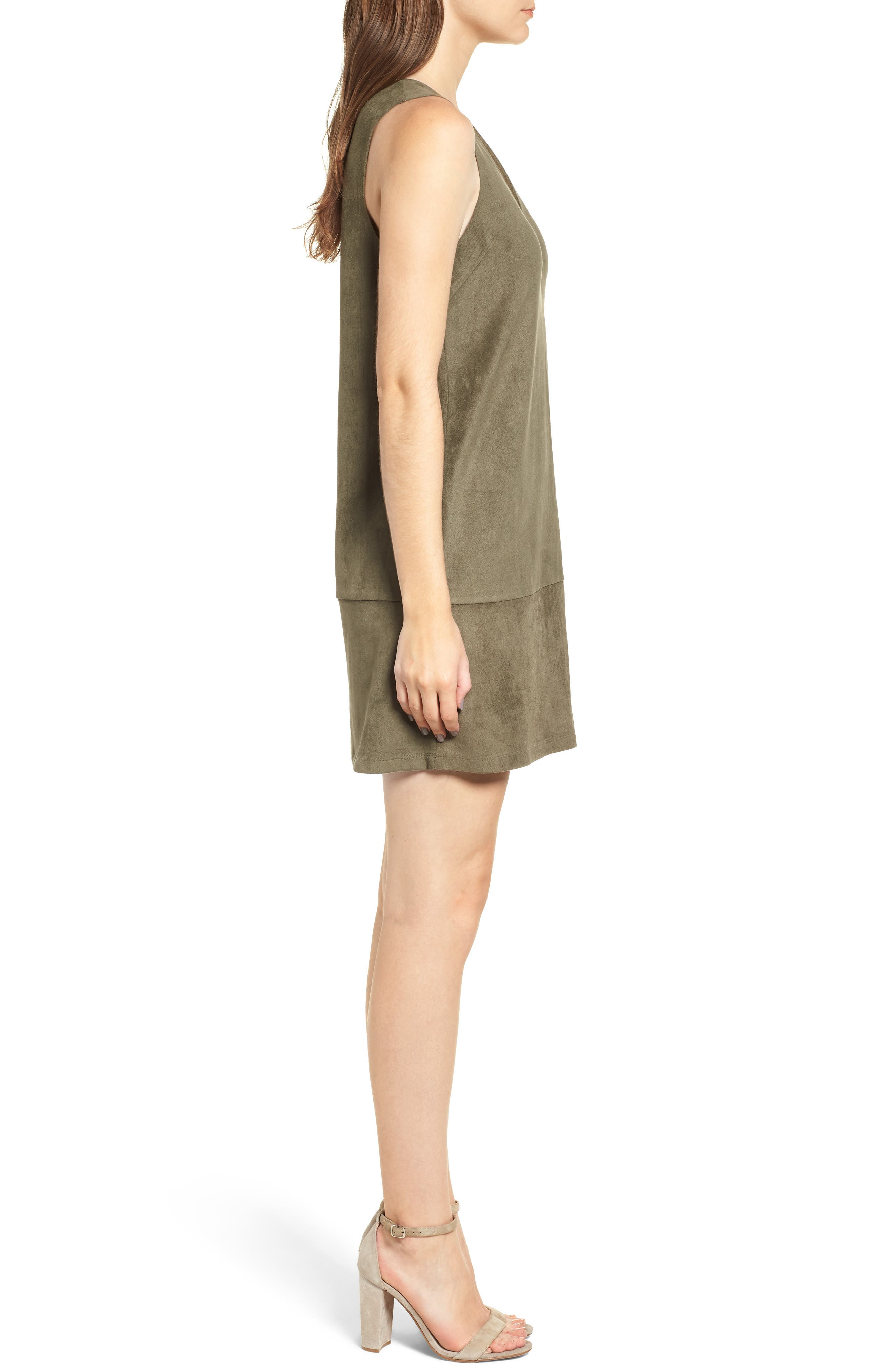 Bishop + Young Sueded Sleeveless Shift Dress,                             Alternate thumbnail 3, color,                             OLIVE