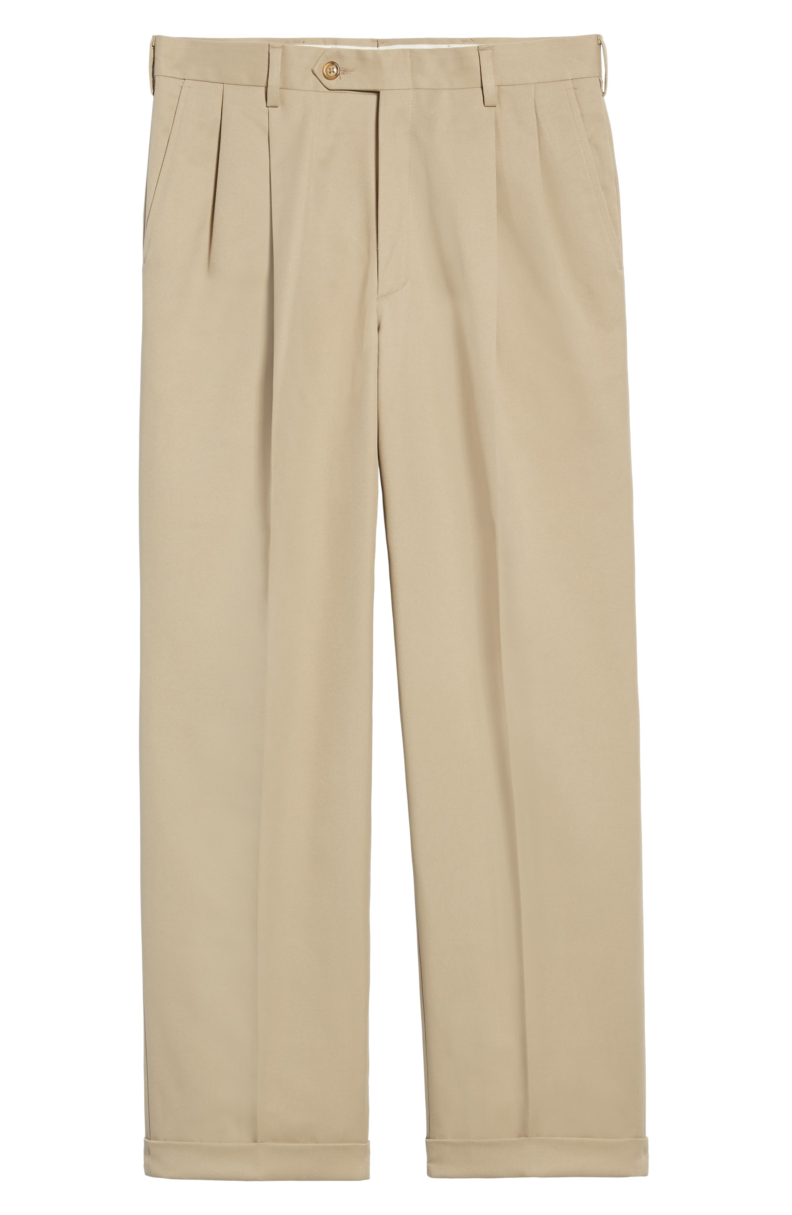 Classic Fit Pleated Microfiber Performance Trousers,                             Alternate thumbnail 6, color,                             TAN