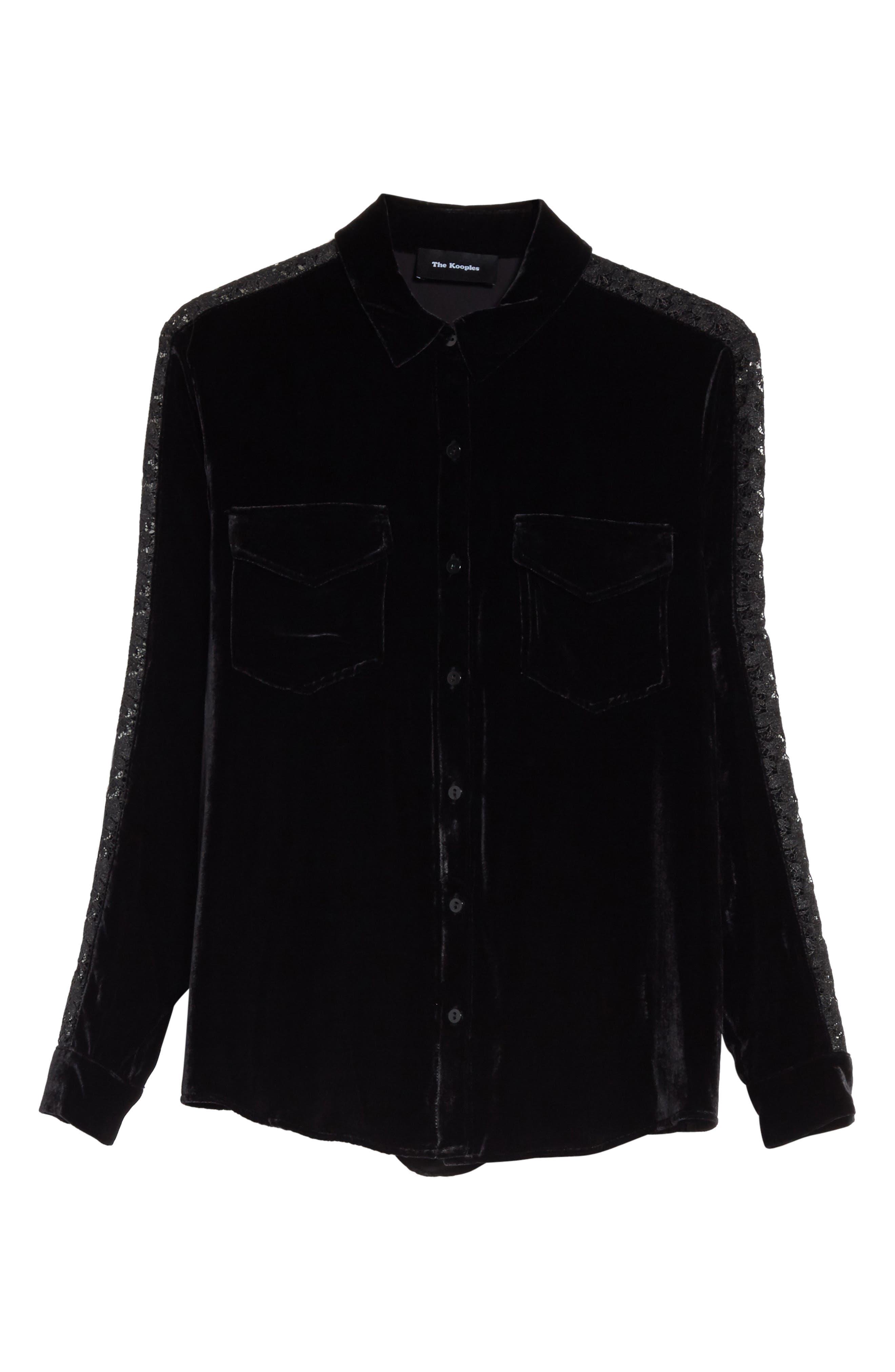 Lace Trim Velvet Shirt,                             Alternate thumbnail 6, color,                             001