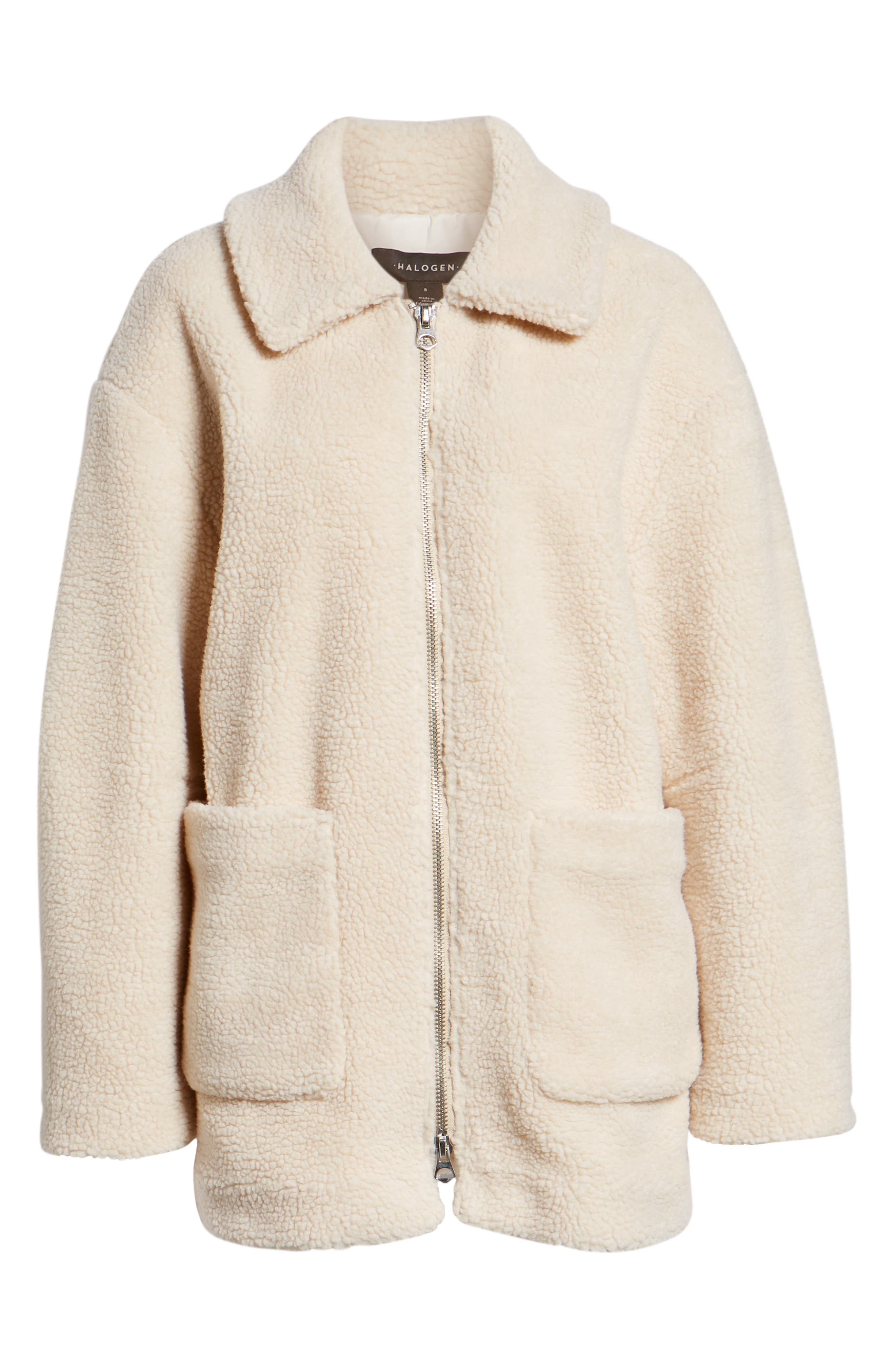 Zip Front Teddy Coat,                             Alternate thumbnail 6, color,                             IVORY