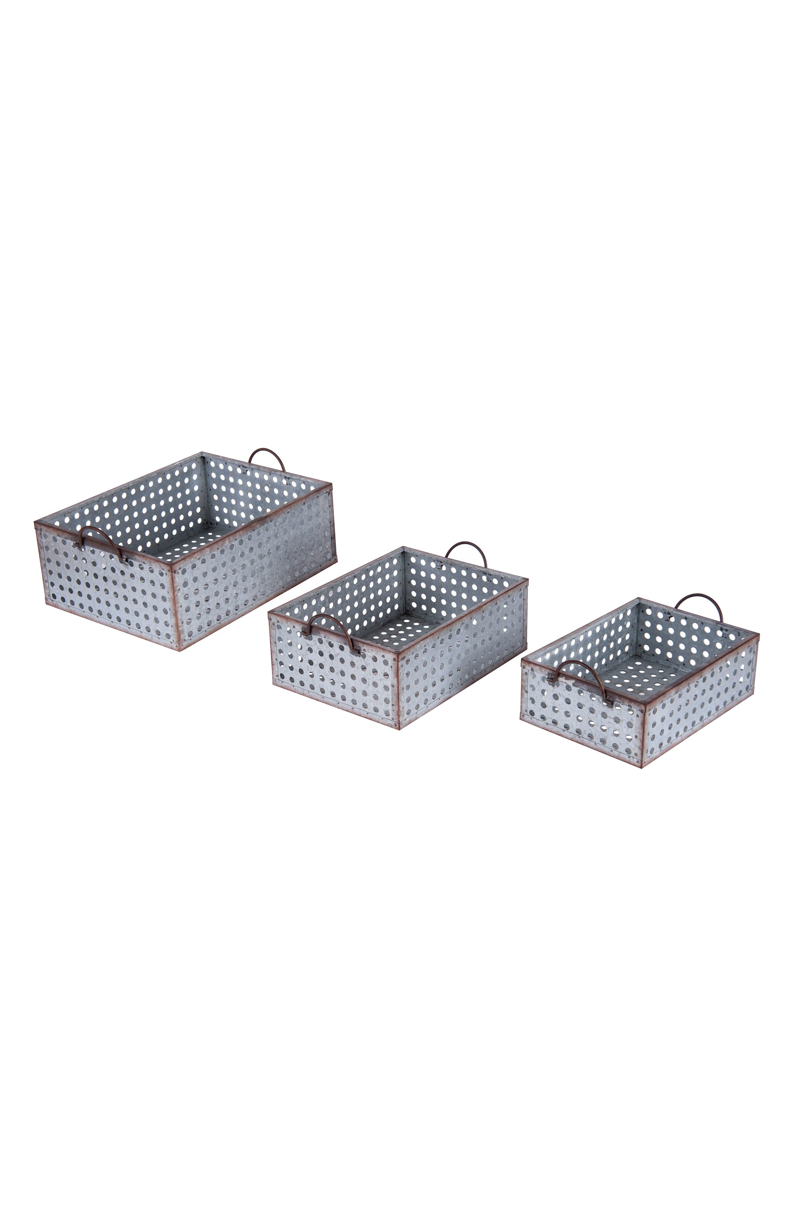 Set of 3 Perforated Baskets,                             Main thumbnail 1, color,                             METAL