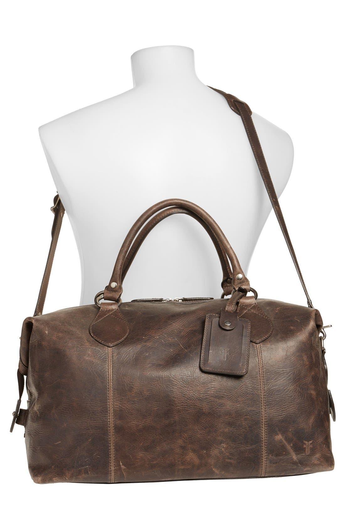 'Logan' Leather Overnight Bag,                             Alternate thumbnail 6, color,