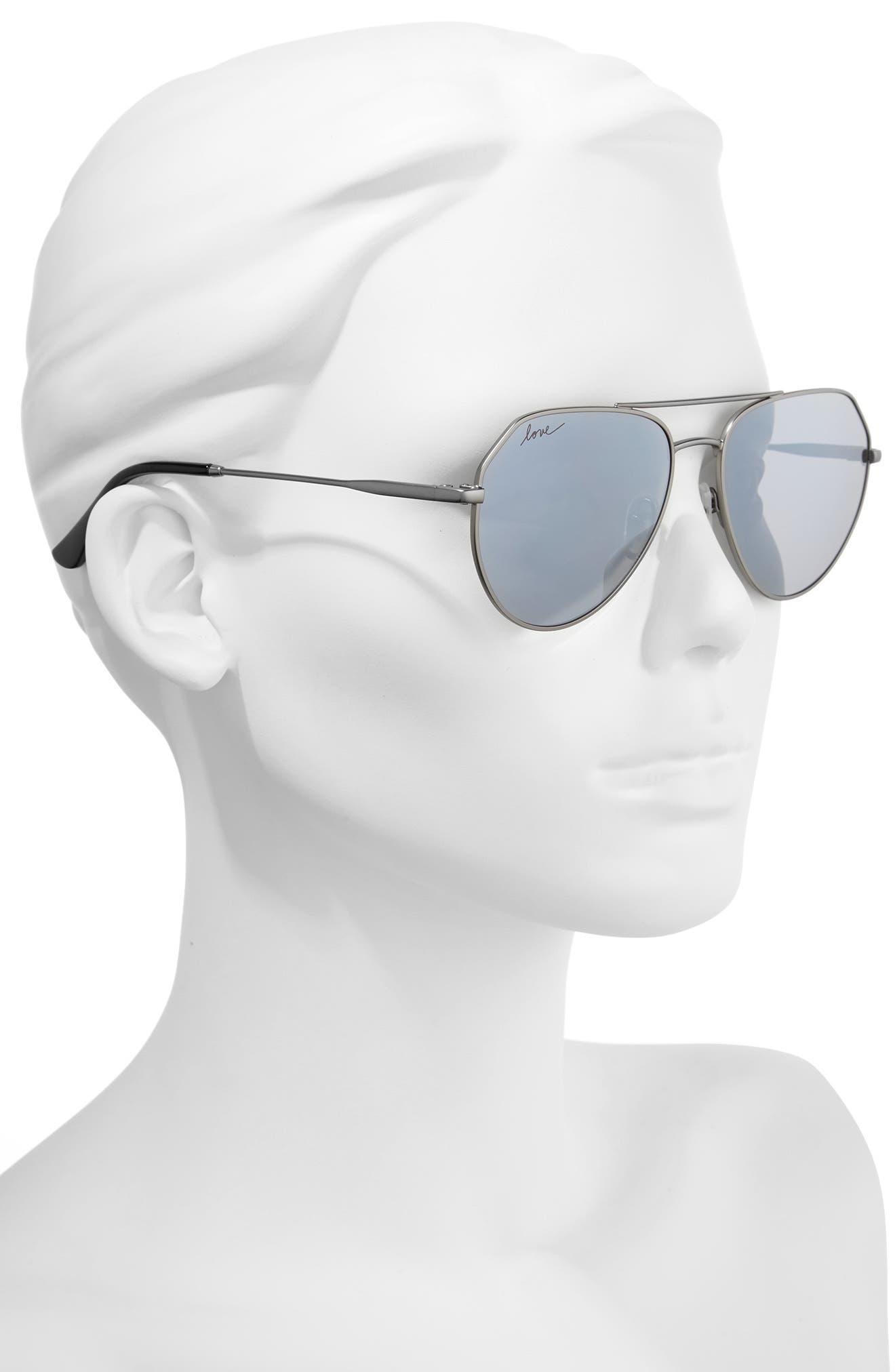 57mm Aviator Sunglasses,                             Alternate thumbnail 2, color,                             GUN METAL