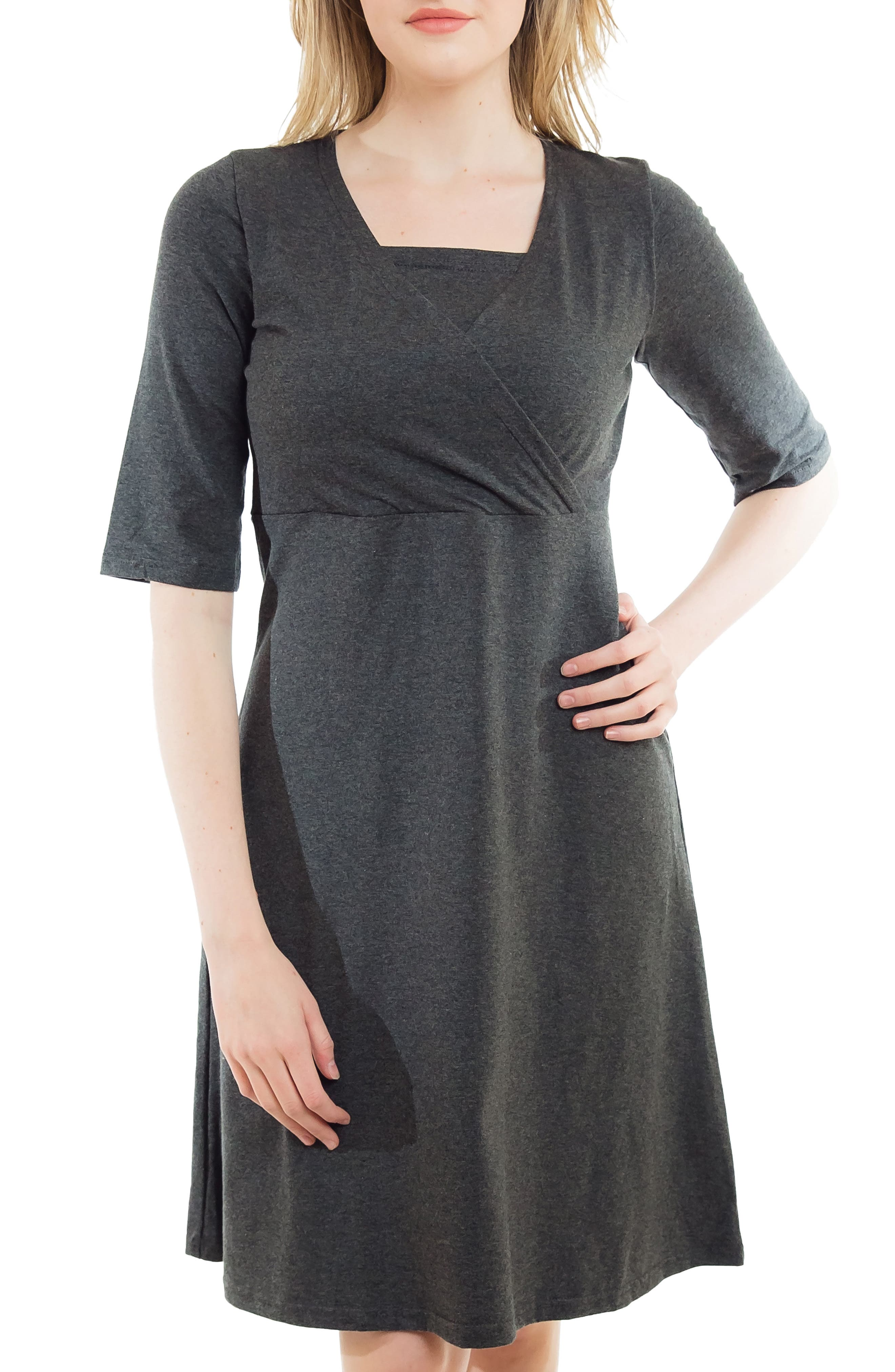 Crossover Maternity/Nursing Dress,                             Alternate thumbnail 4, color,                             HEATHER CHARCOAL