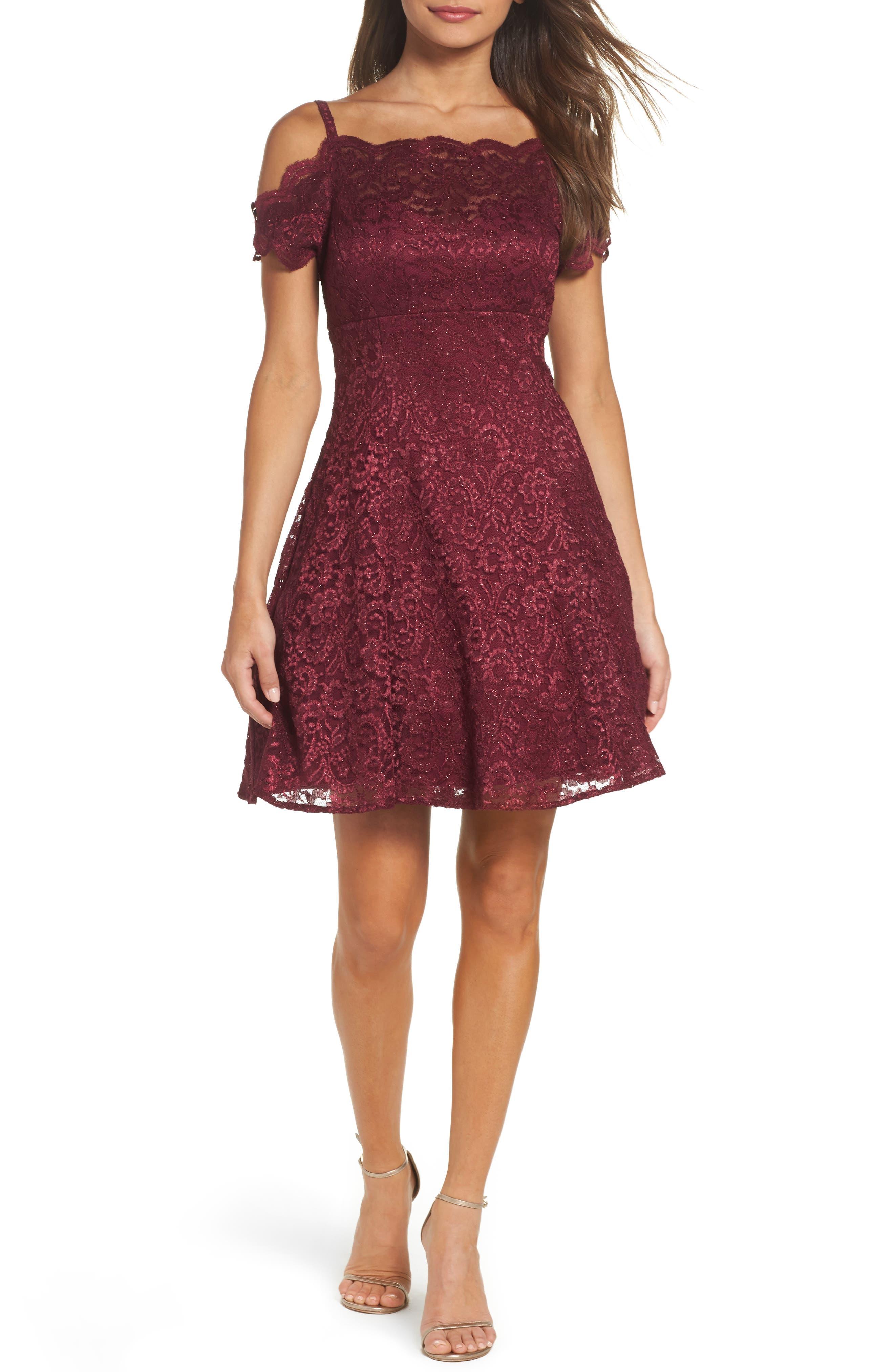 MORGAN & CO.,                             Cold Shoulder Glitter Lace Fit & Flare Dress,                             Main thumbnail 1, color,                             MERLOT