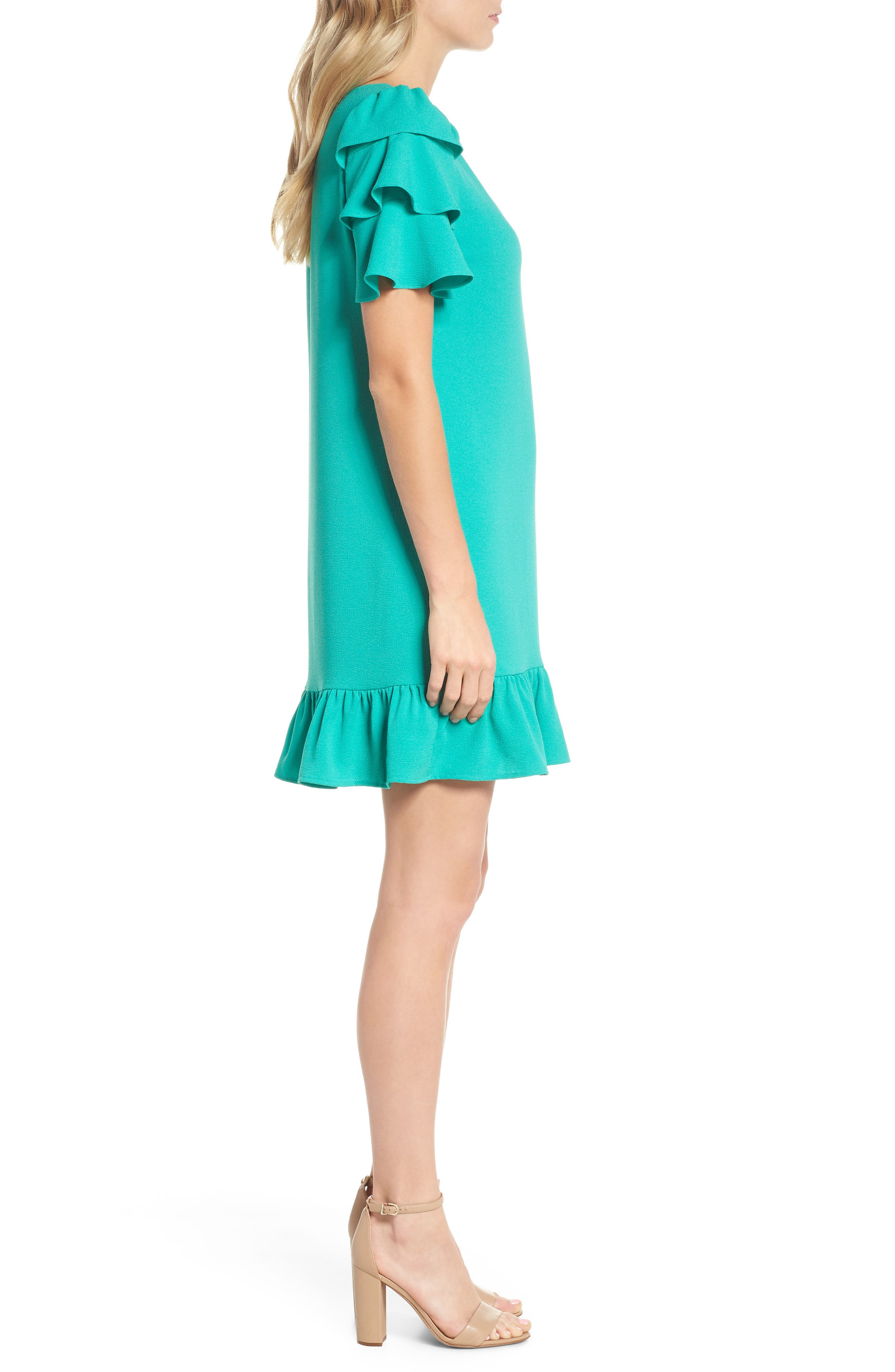 Tiered Ruffle Shift Dress,                             Alternate thumbnail 3, color,                             320