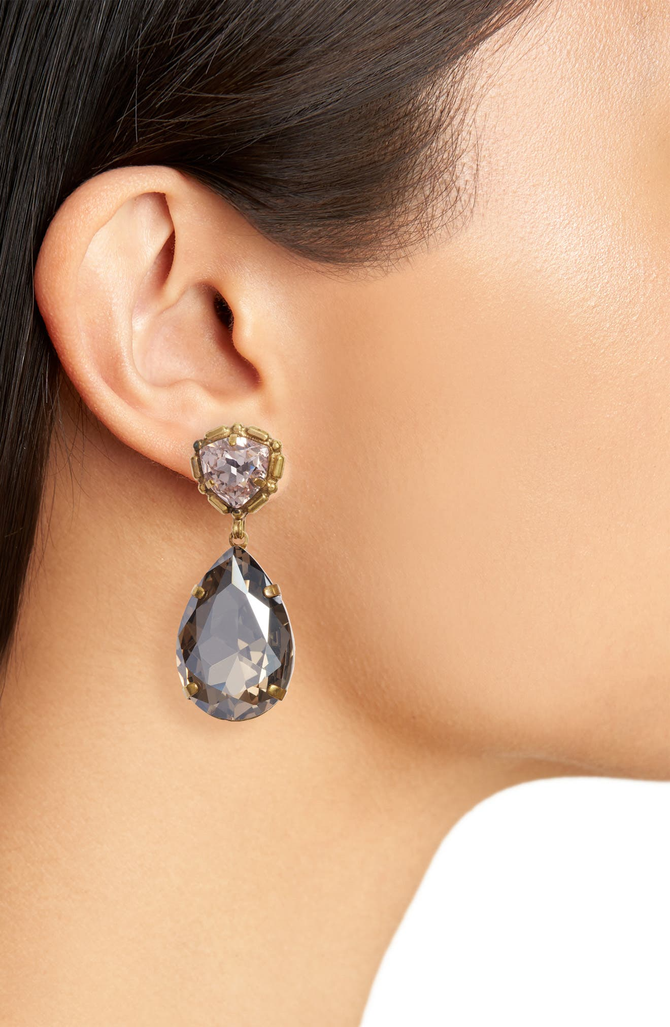 Pear Crystal Statement Earrings,                             Alternate thumbnail 2, color,                             BEIGE