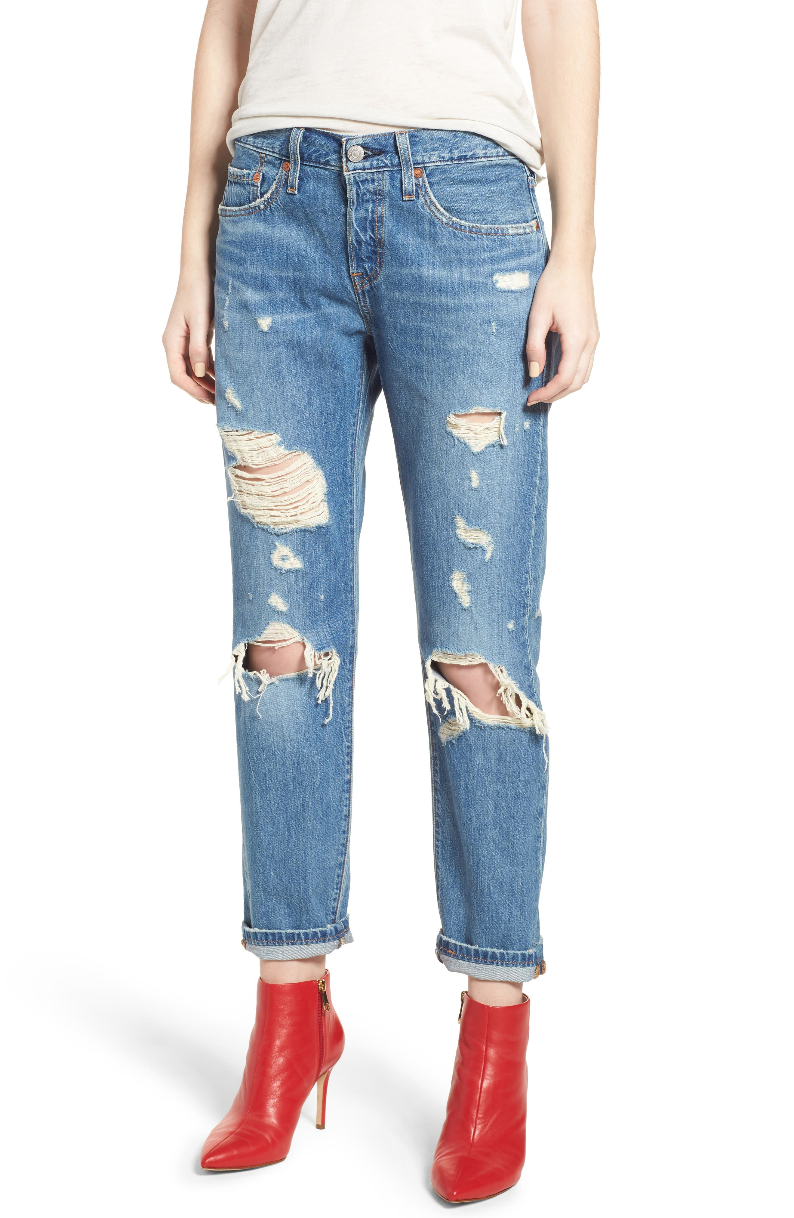 501<sup>™</sup> Taper Ripped Boyfriend Jeans,                         Main,                         color, YOUNG AND RECKLESS