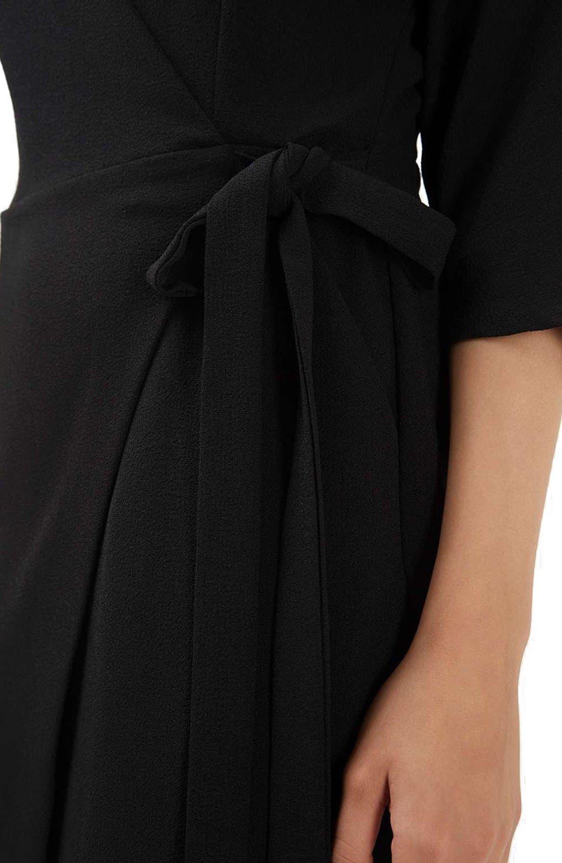 Dolman Sleeve Wrap Midi Dress,                             Alternate thumbnail 5, color,                             001