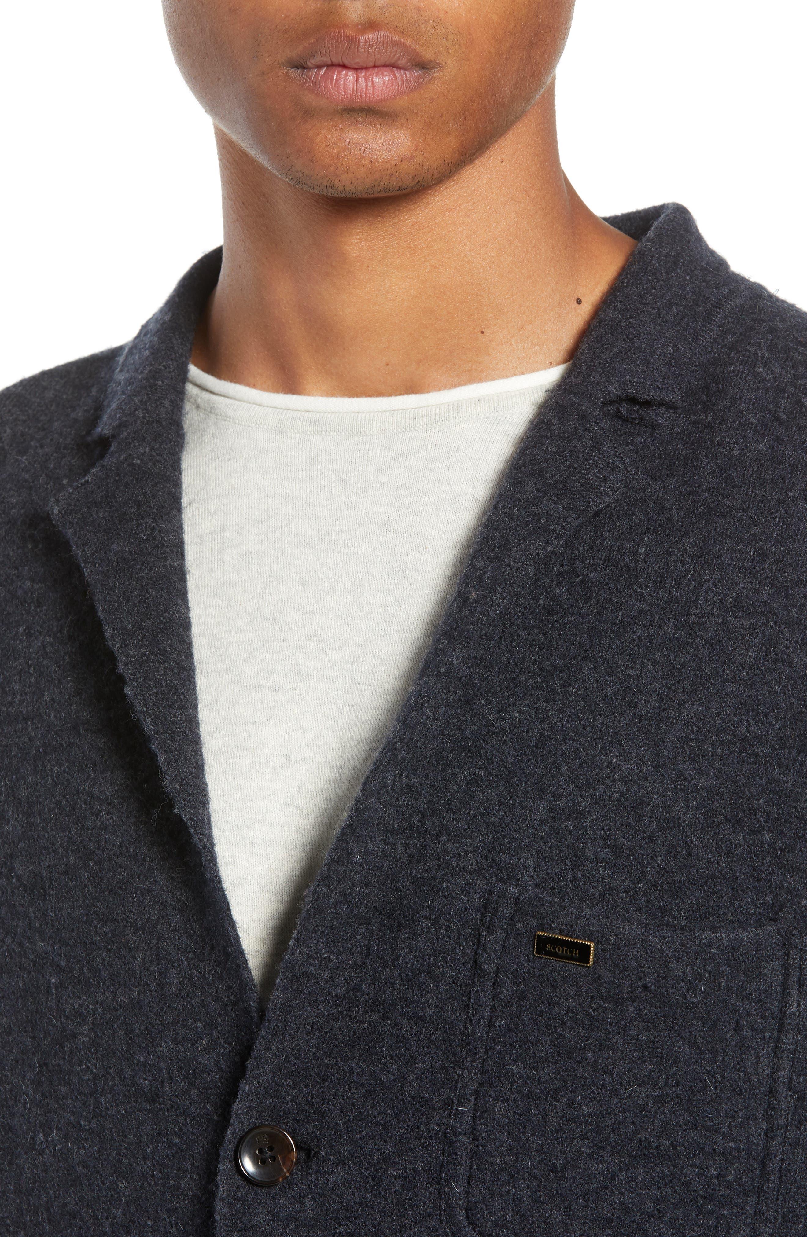 Boiled Wool Blazer,                             Alternate thumbnail 4, color,                             CHARCOAL MELANGE