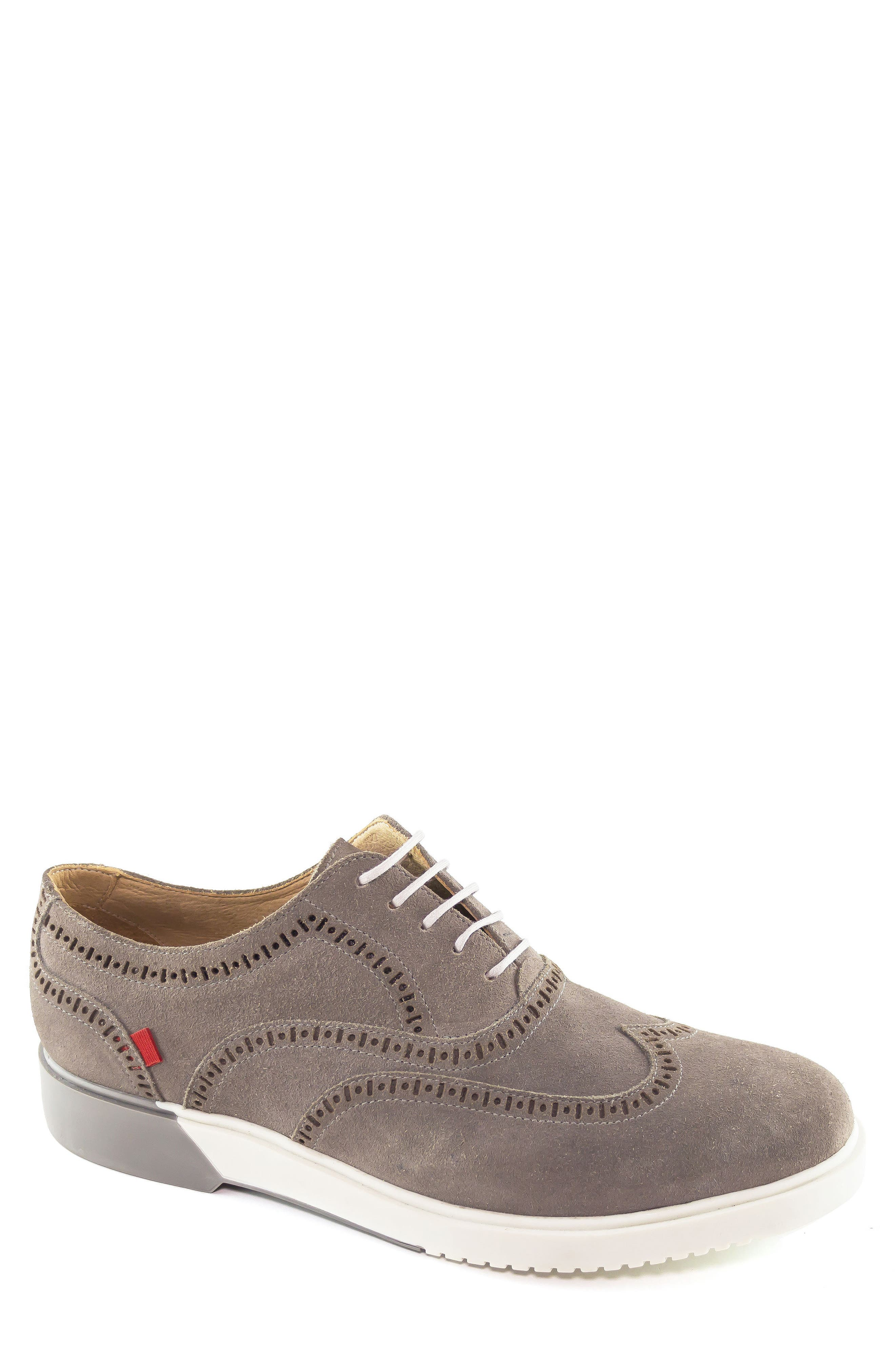 5th Ave Wingtip Sneaker,                             Main thumbnail 1, color,                             GREY SUEDE