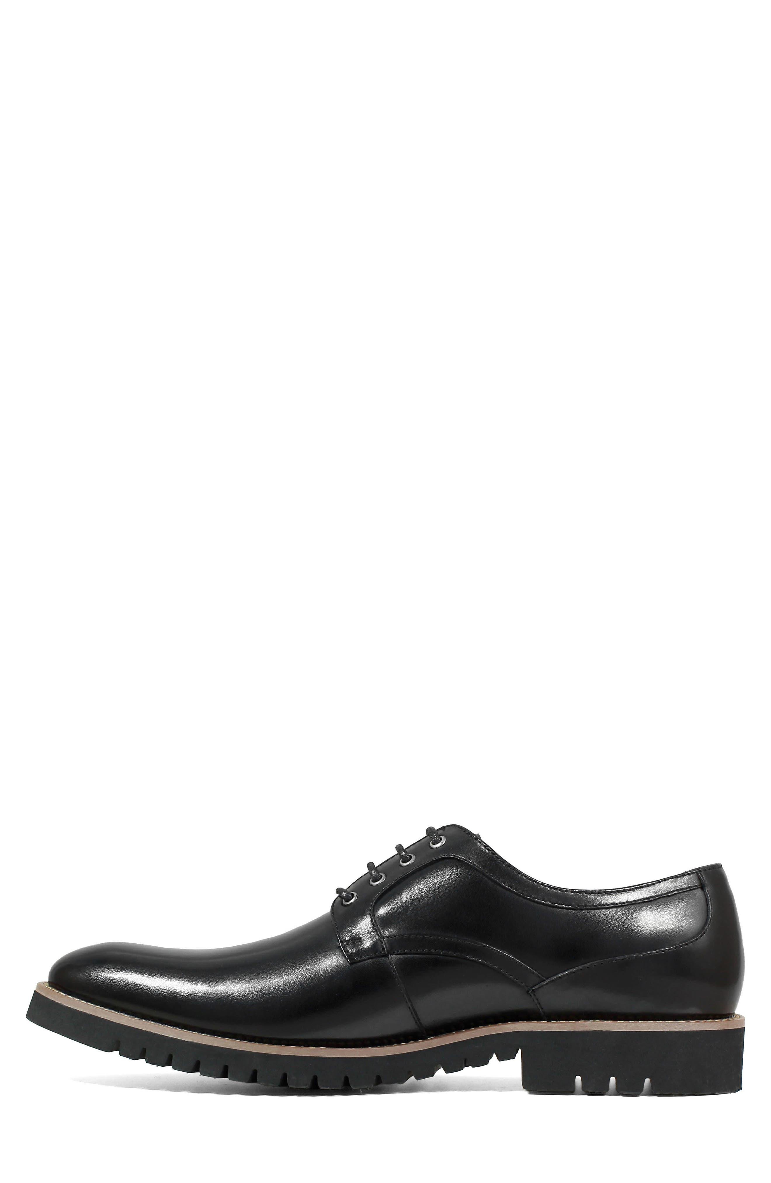 Barclay Plain Toe Derby,                             Alternate thumbnail 3, color,                             BLACK LEATHER