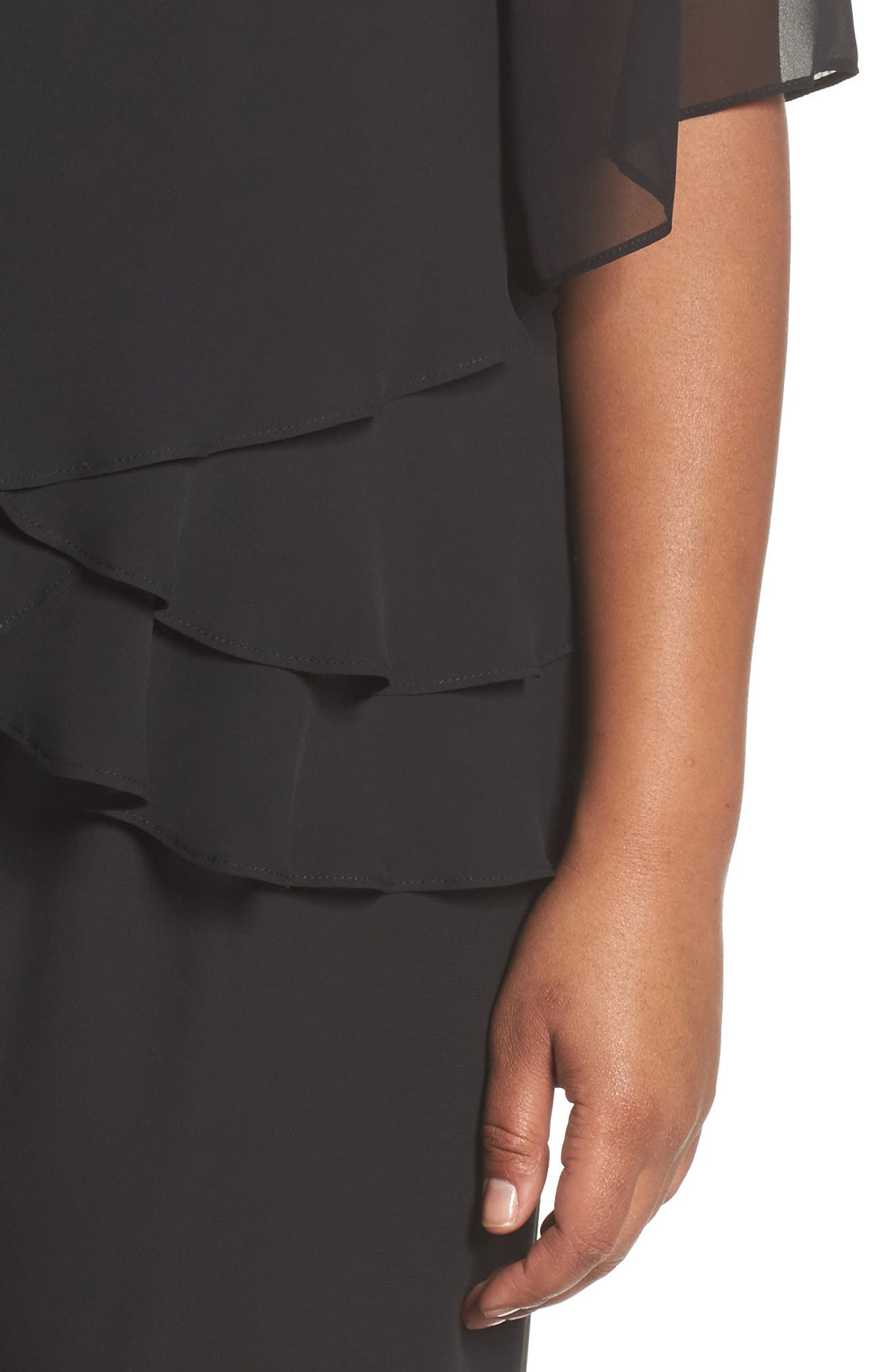 Embellished Tiered Chiffon Blouse,                             Alternate thumbnail 4, color,                             001