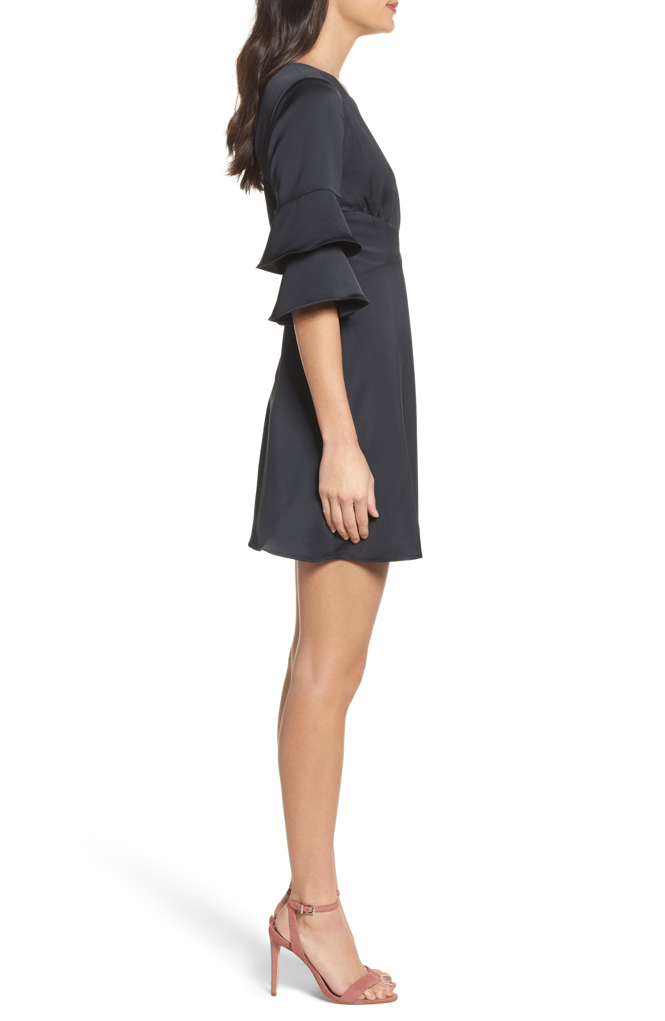 Ruffle Sleeve Satin Dress,                             Alternate thumbnail 3, color,