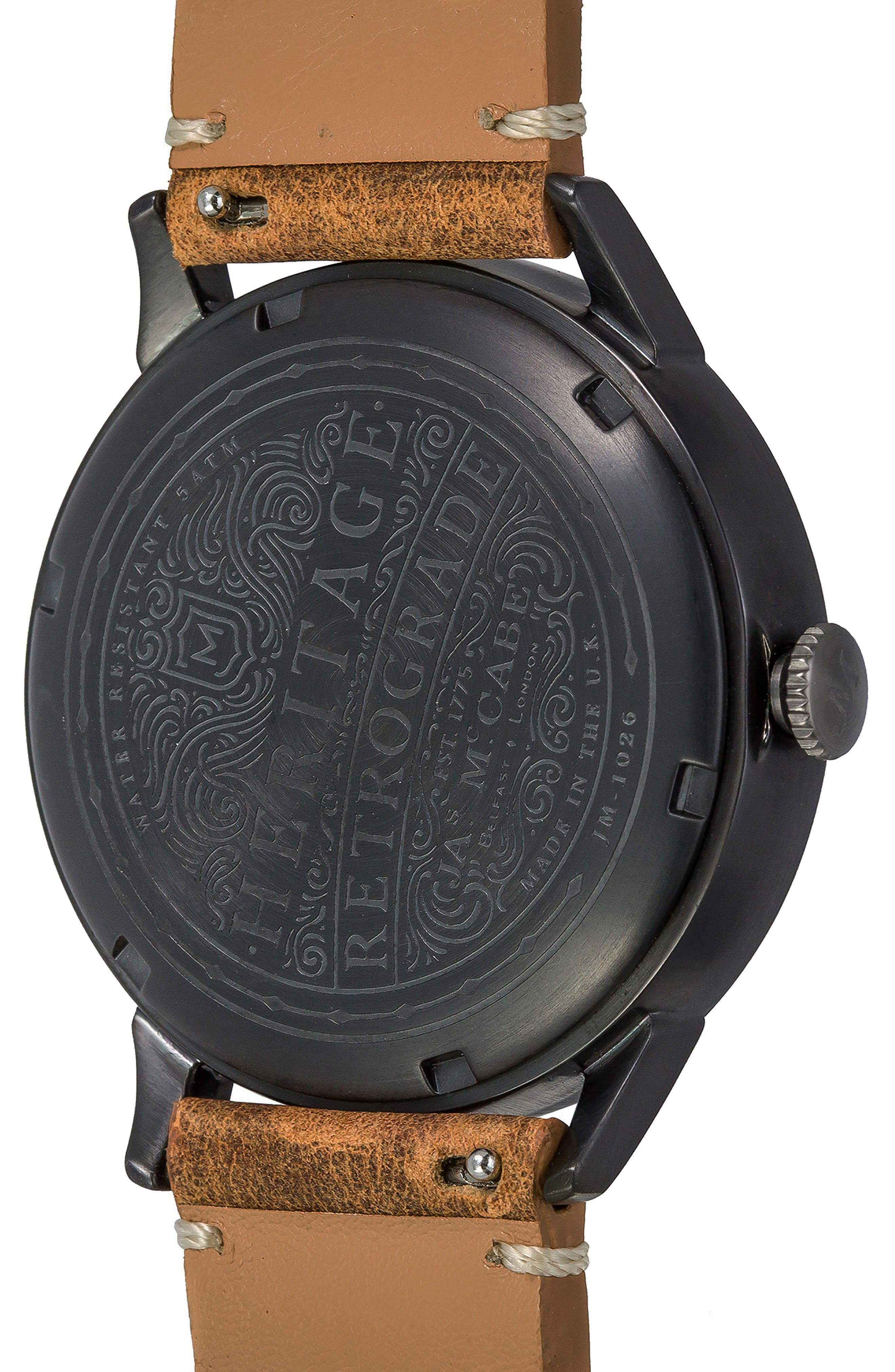Heritage Retrograde II Leather Strap Watch, 35mm,                             Alternate thumbnail 4, color,                             200