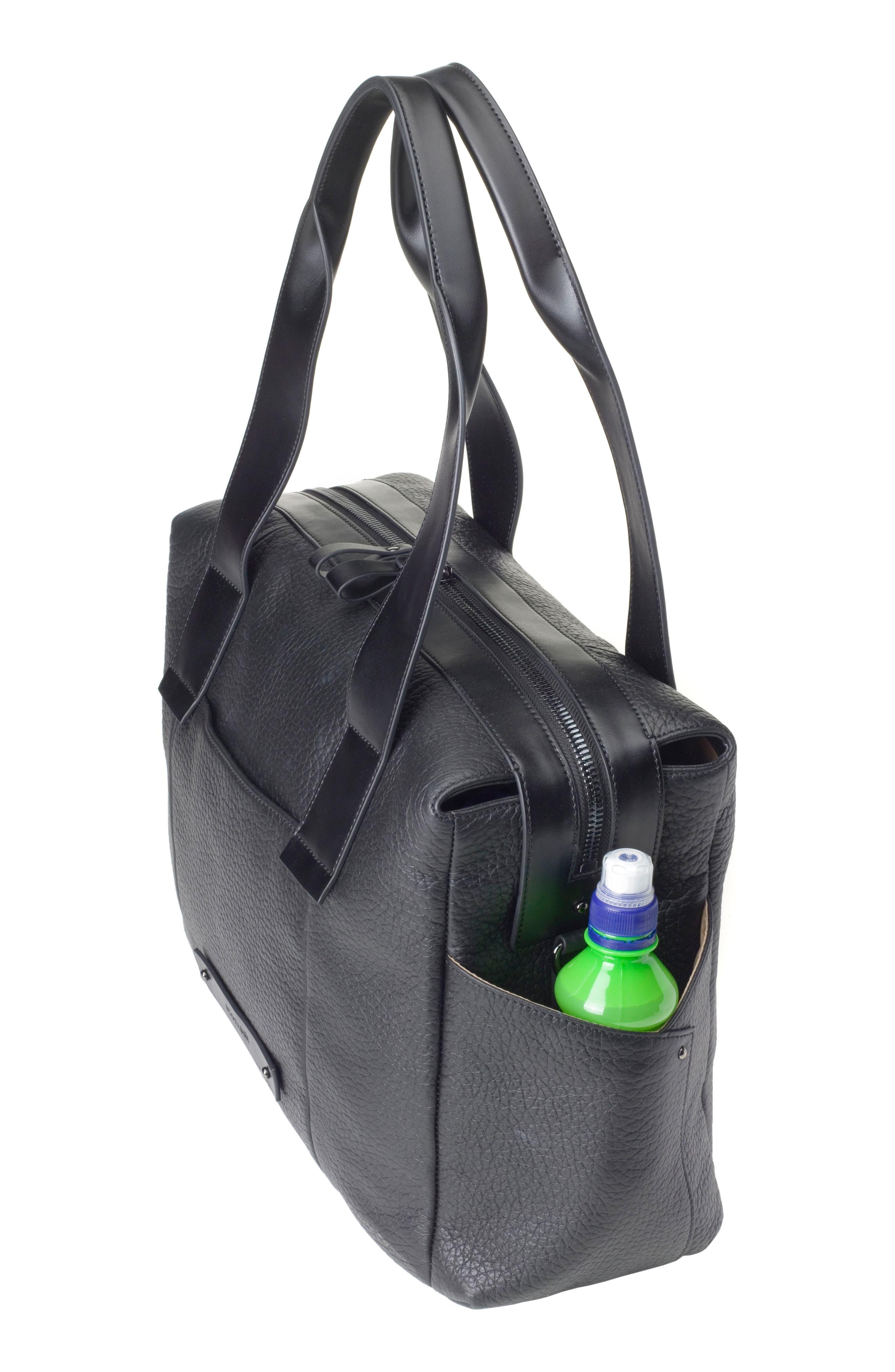 Kym Calfskin Leather Diaper Tote Bag,                             Alternate thumbnail 6, color,                             BLACK