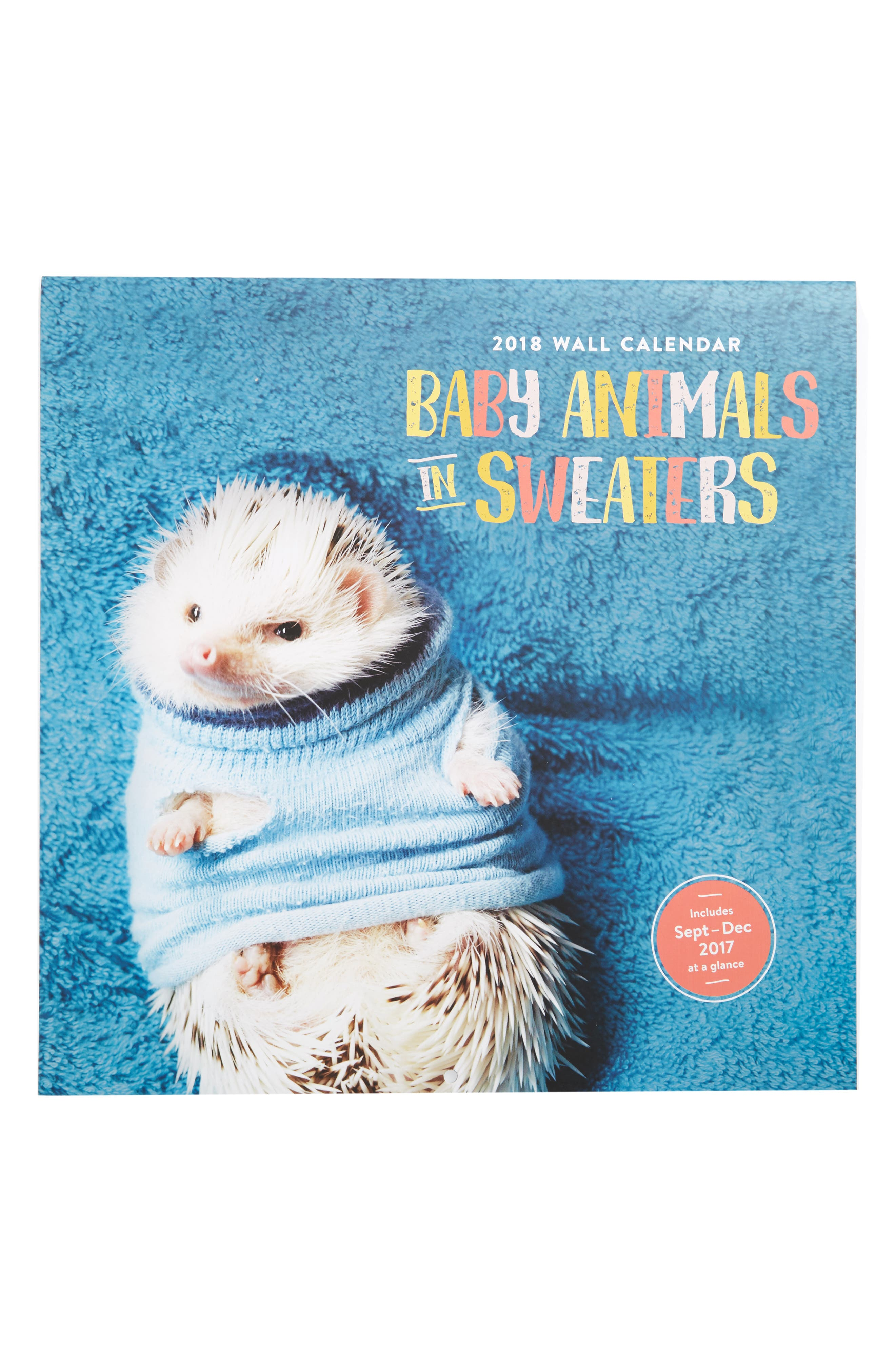 Baby Animals in Sweaters 2018 Wall Calendar,                             Main thumbnail 1, color,                             400