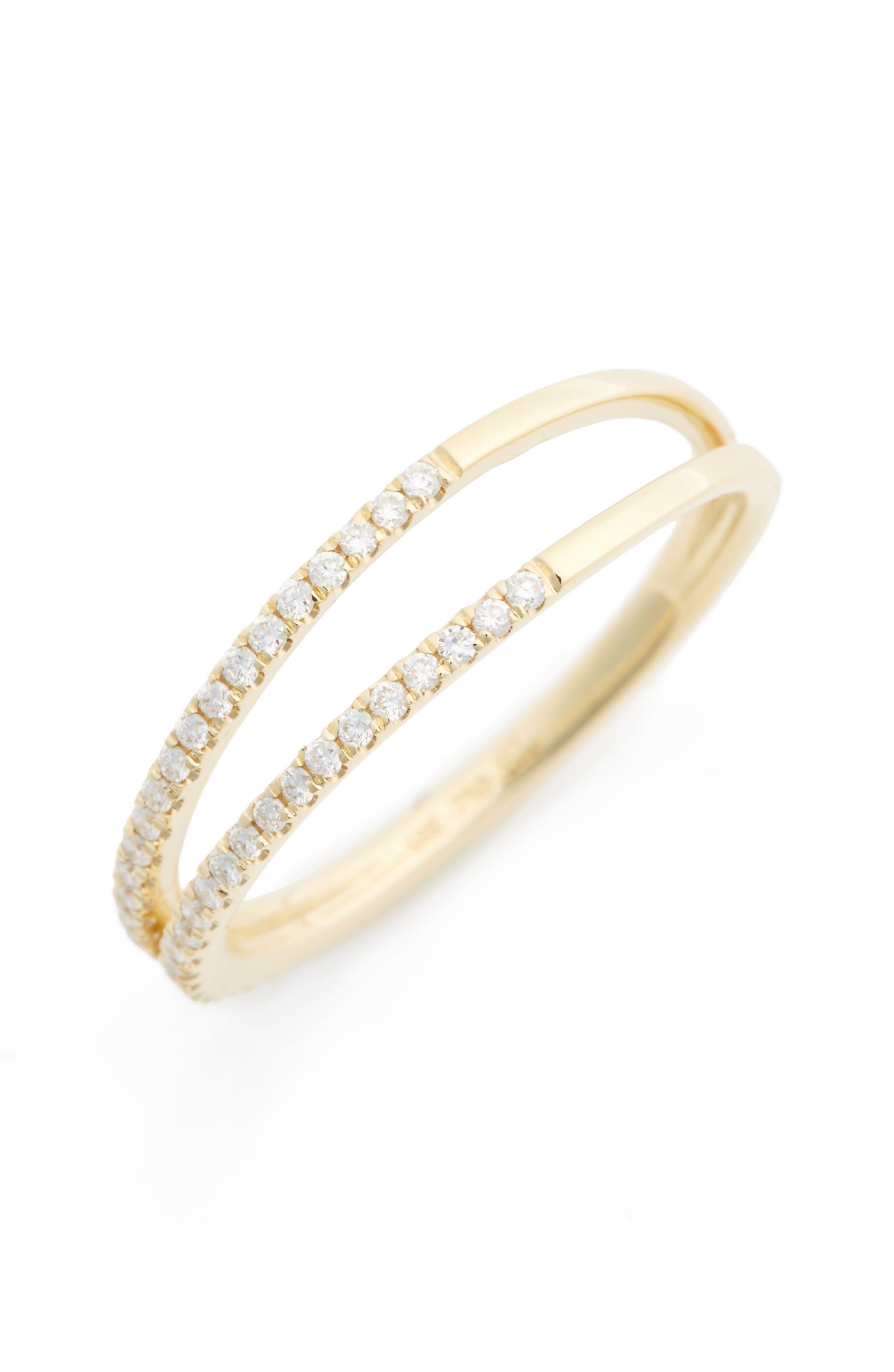 Diamond Two Row Ring,                             Main thumbnail 1, color,                             710