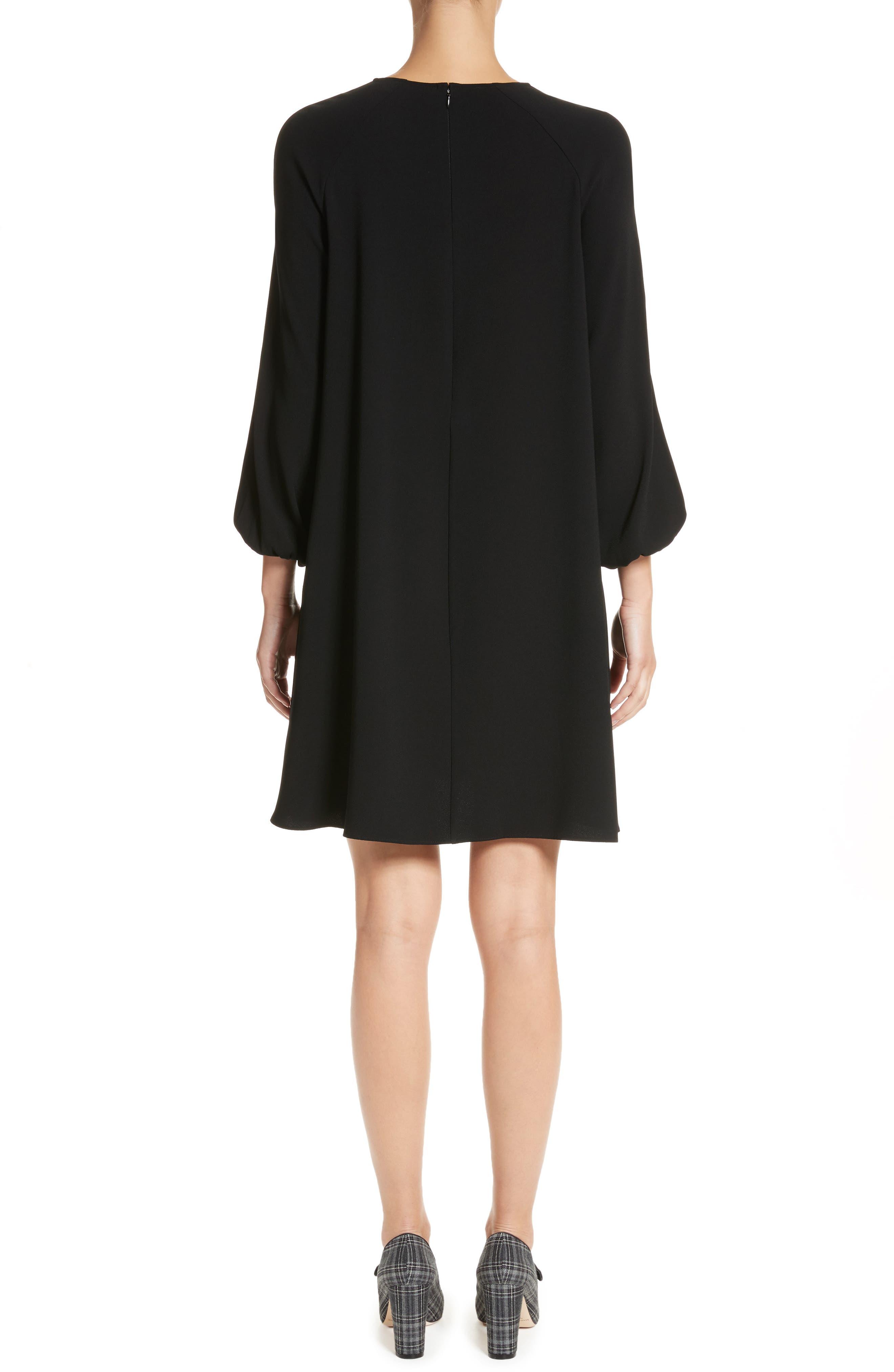 Raglan Sleeve Peasant Dress,                             Alternate thumbnail 2, color,                             BLACK