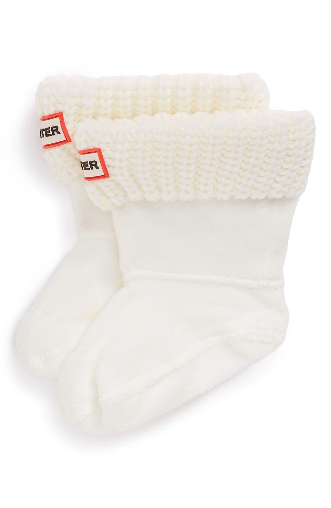 Toddler Girls Hunter Cardigan Knit Cuff Welly Boot Socks Size 57  White