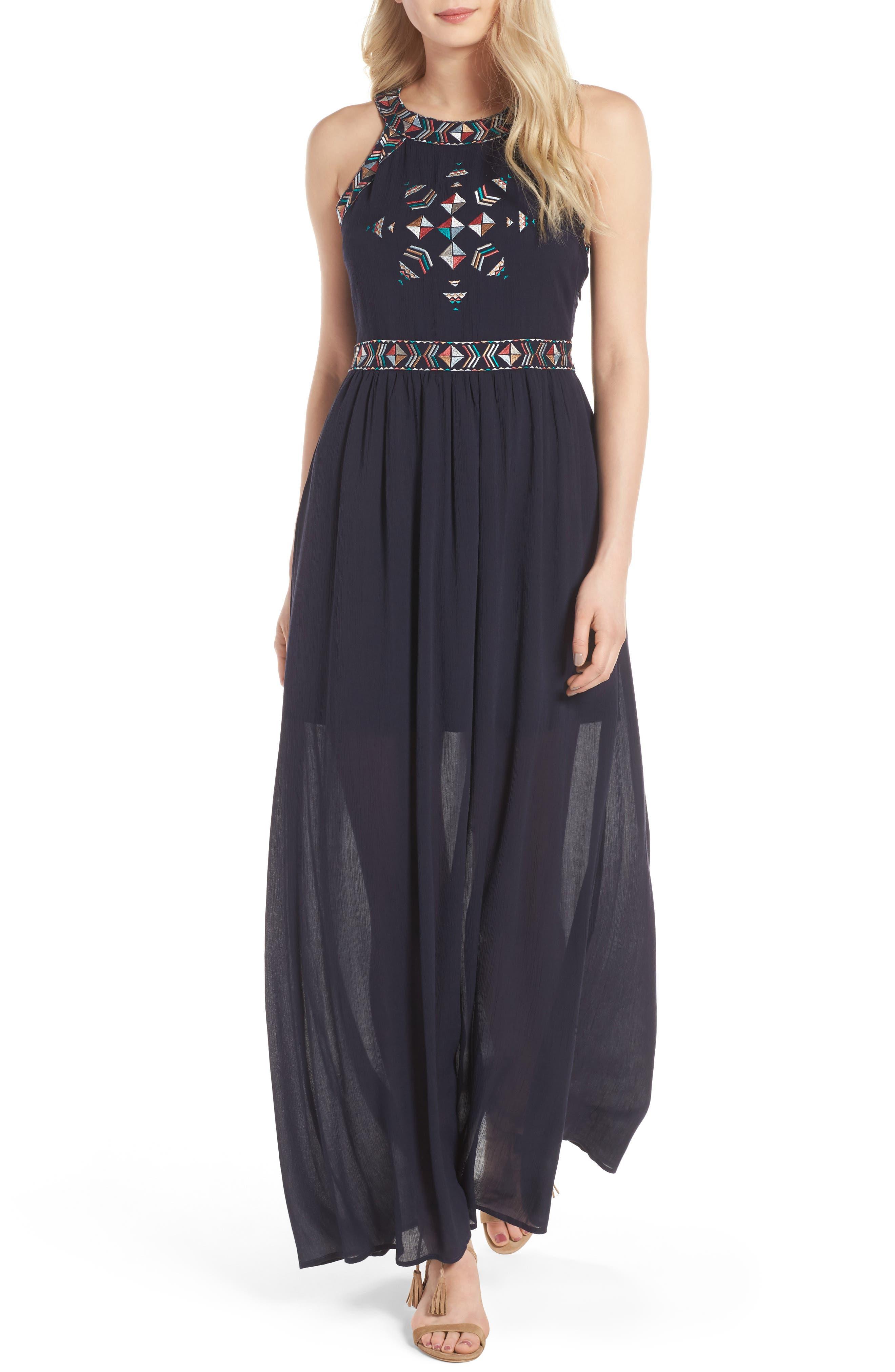 Kerrine Embroidered Maxi Dress,                             Main thumbnail 1, color,                             422