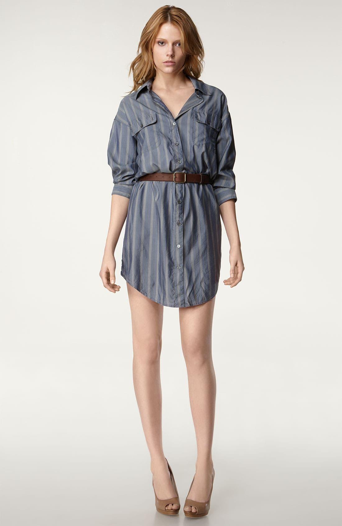 'Laurent' Stripe Silk Shirtdress,                             Main thumbnail 1, color,