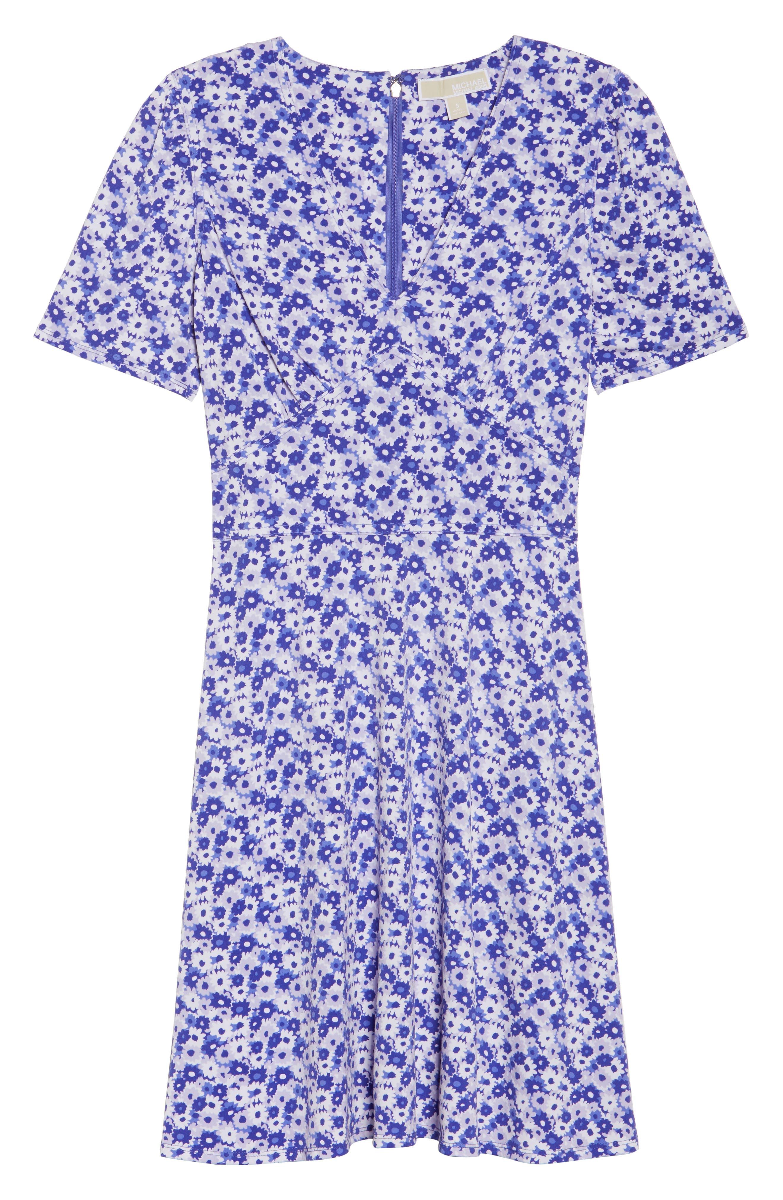 Floral Fit & Flare Dress,                             Alternate thumbnail 6, color,                             580