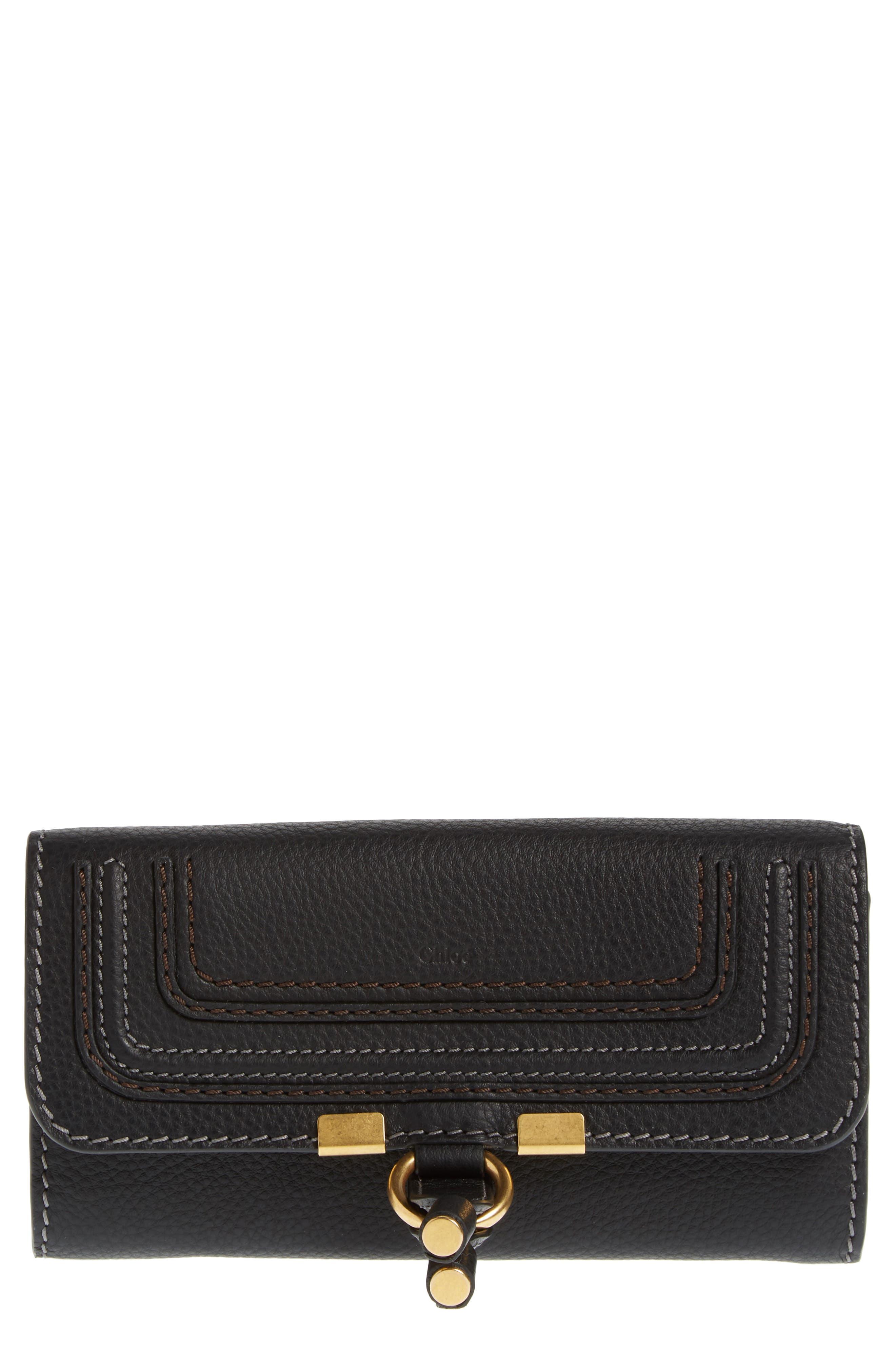 Marcie - Long Leather Flap Wallet,                         Main,                         color, BLACK