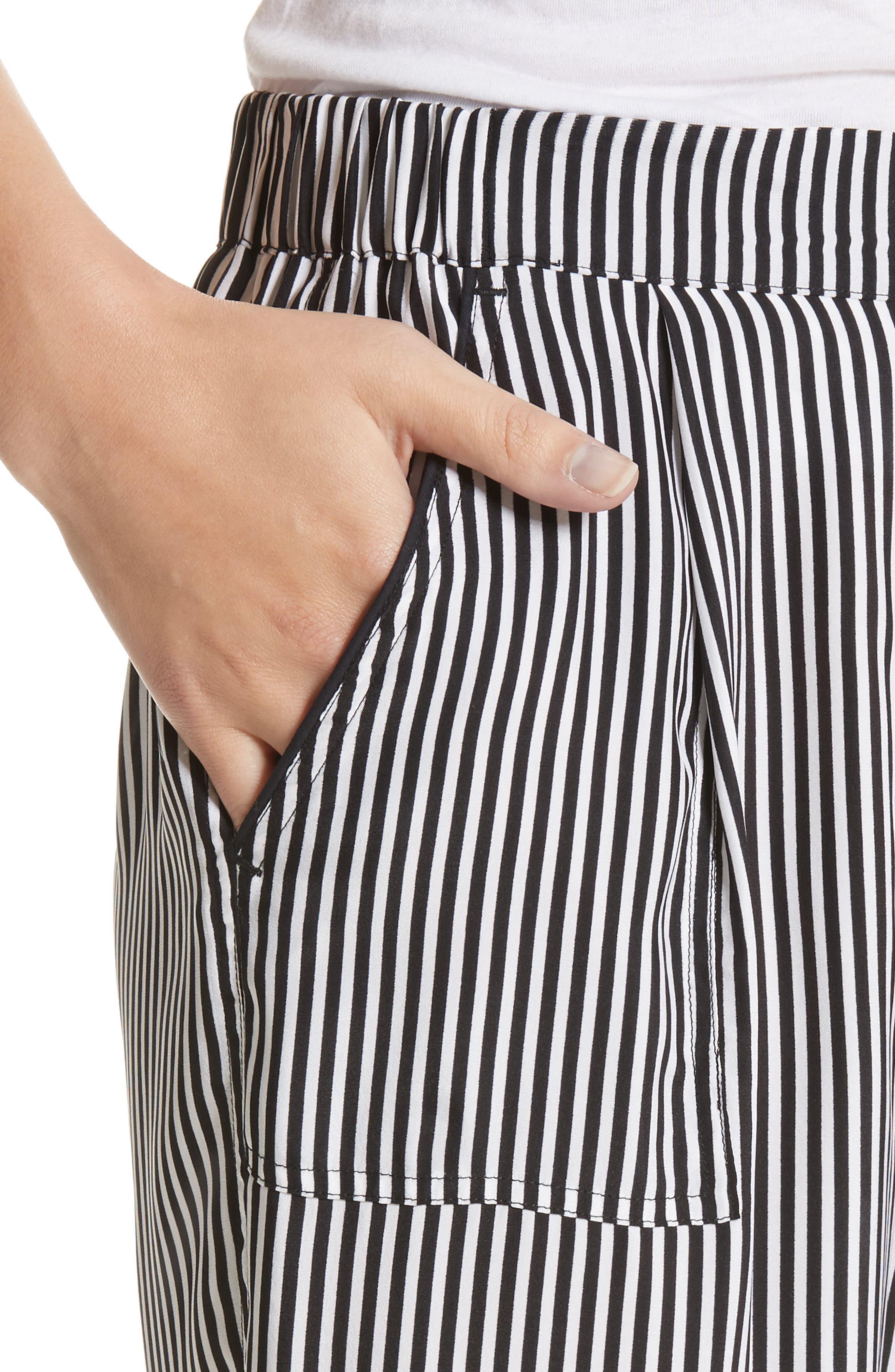 Pencil Stripe Silk Pajama Trousers,                             Alternate thumbnail 4, color,                             001