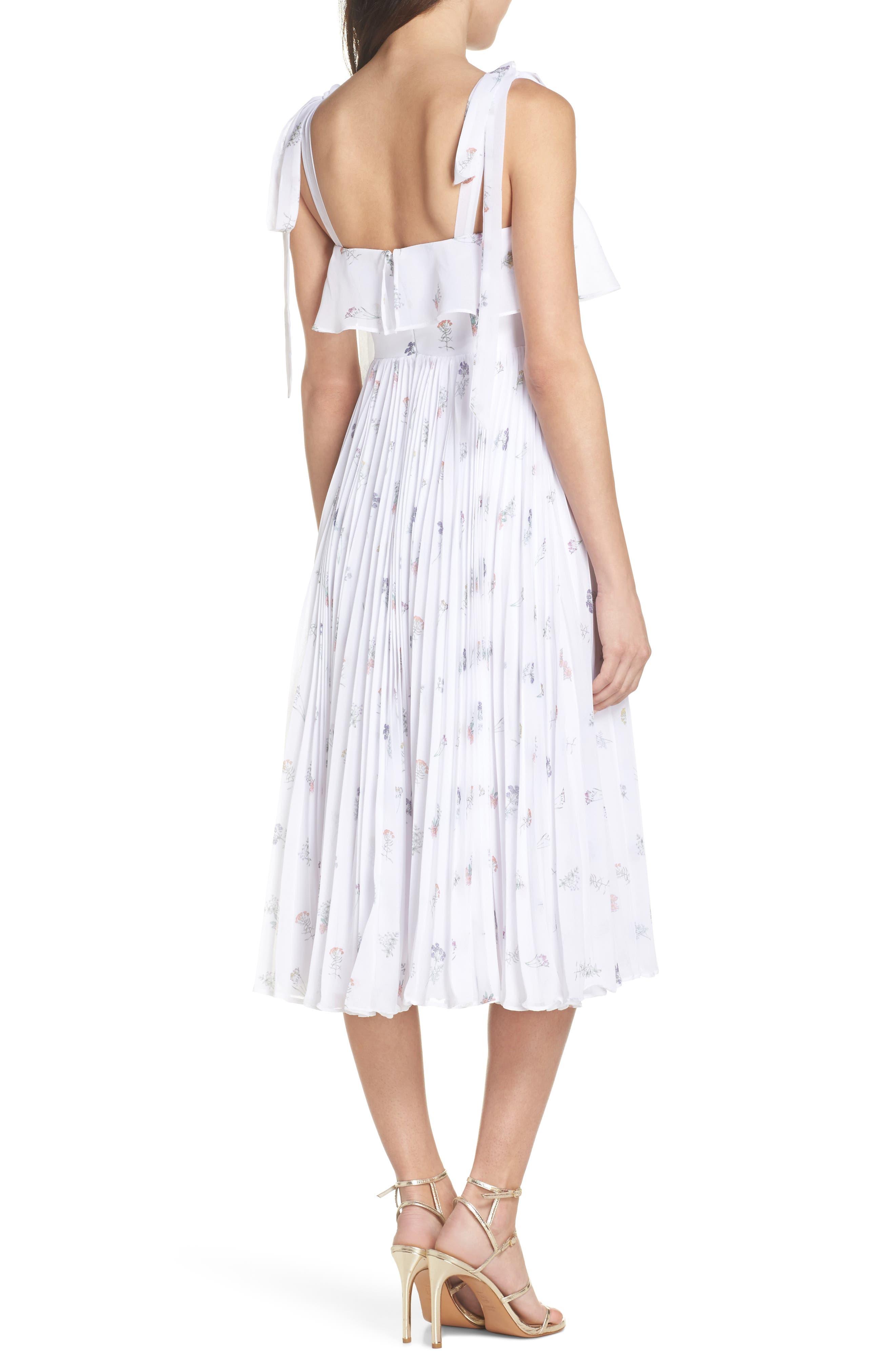 Penny Midi Dress,                             Alternate thumbnail 2, color,                             SPRING POSY WHITE