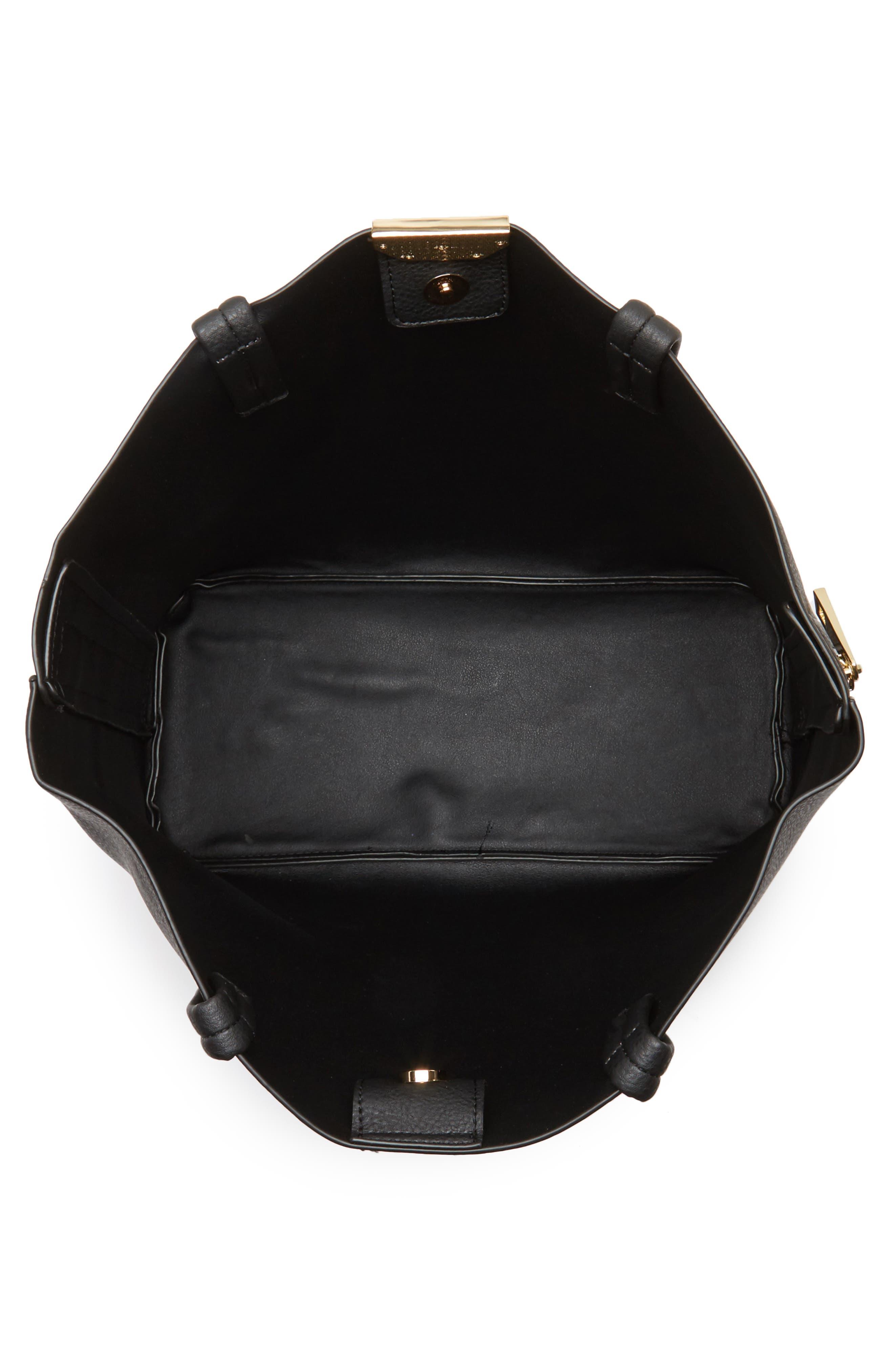 Side Zip Faux Leather Shopper,                             Alternate thumbnail 4, color,                             001