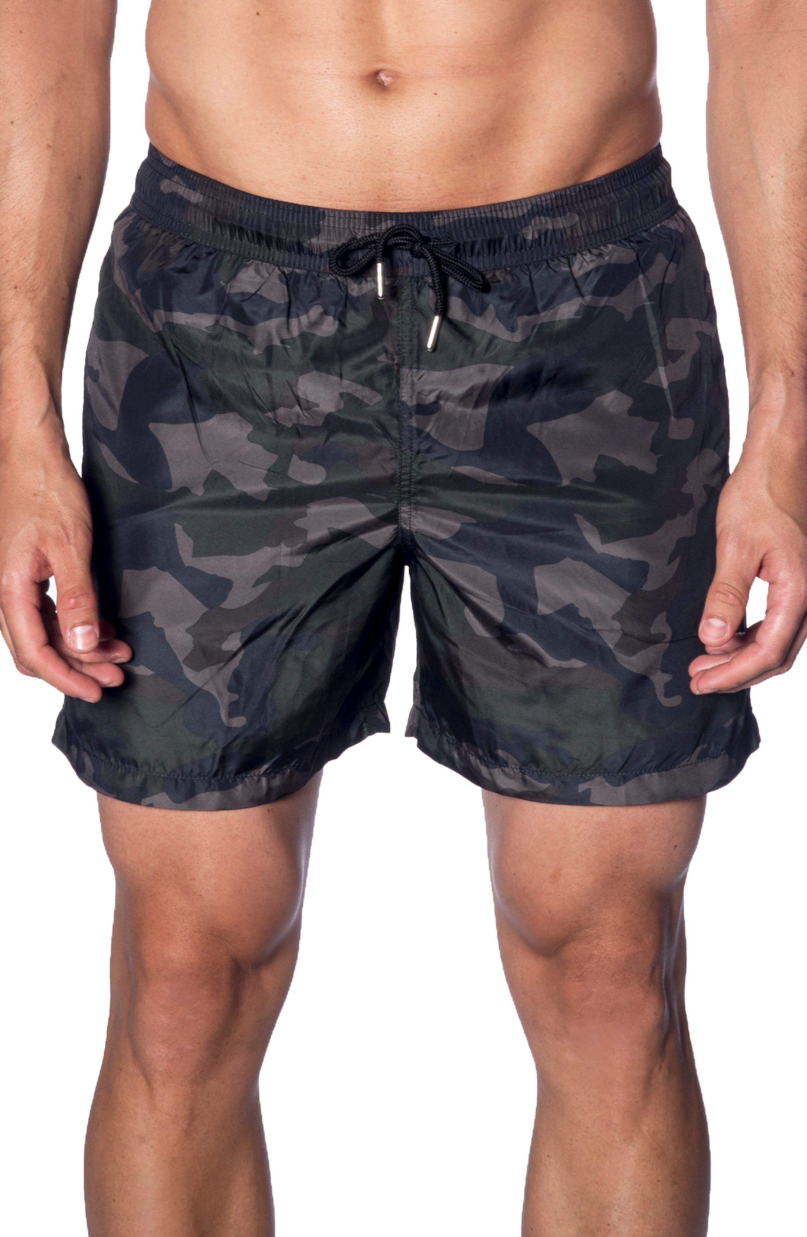 JARED LANG Camo Swim Trunks in Dark Green Camo