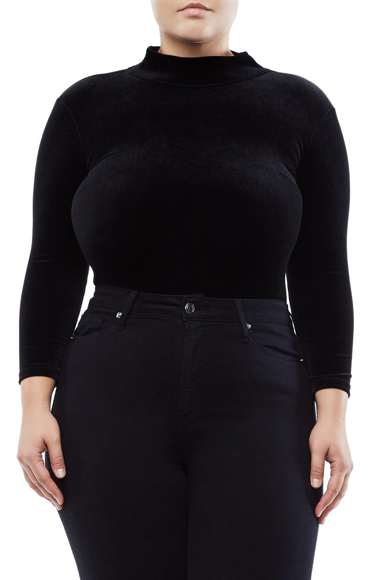 Backless Velvet Bodysuit,                             Main thumbnail 1, color,