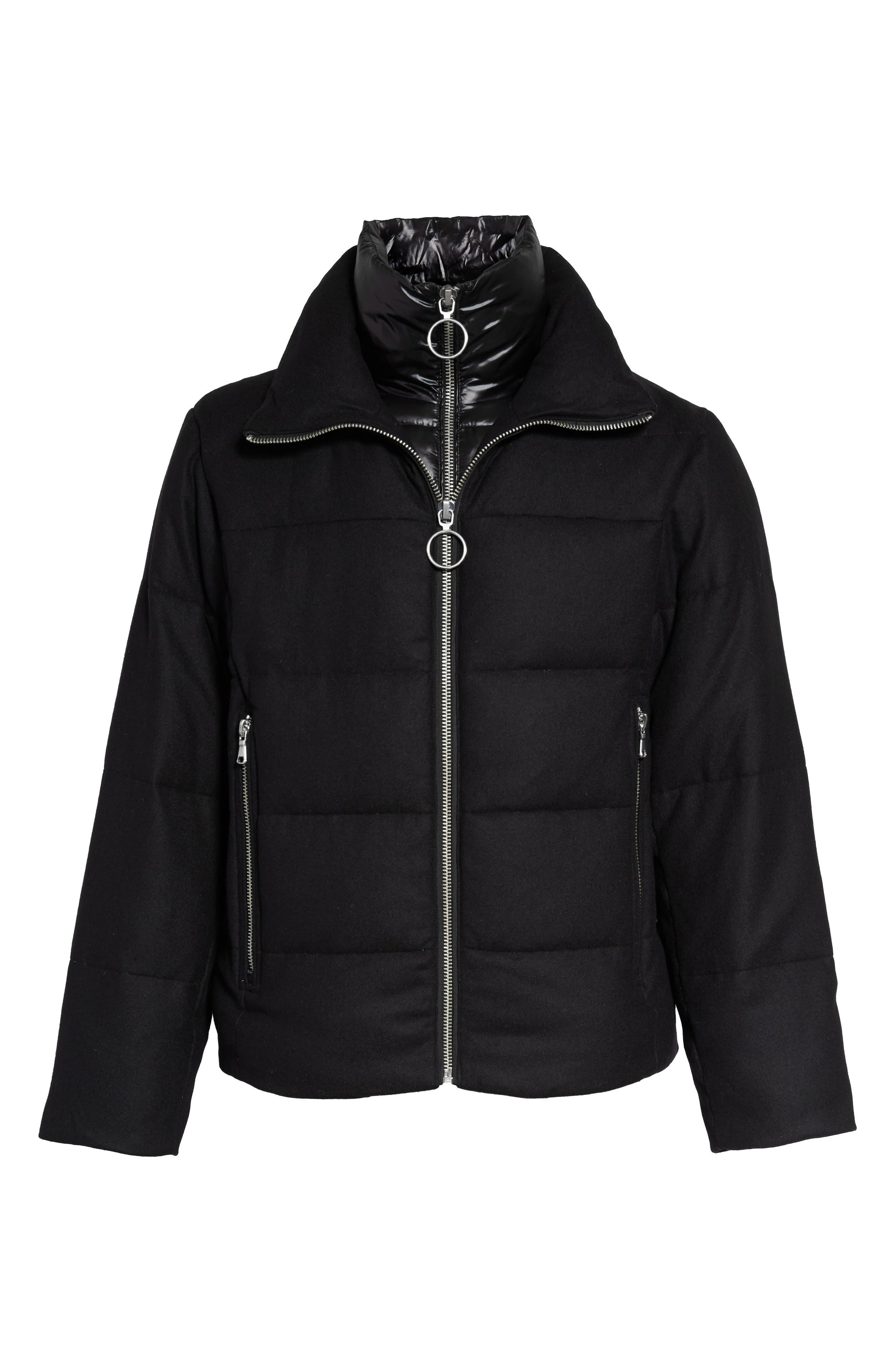 Wool Blend Puffer Jacket,                             Alternate thumbnail 6, color,                             BLACK