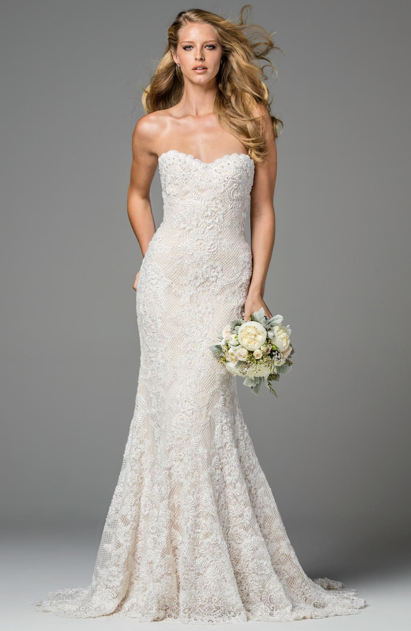 Copeland Strapless Lace Gown,                             Alternate thumbnail 3, color,                             IVORY