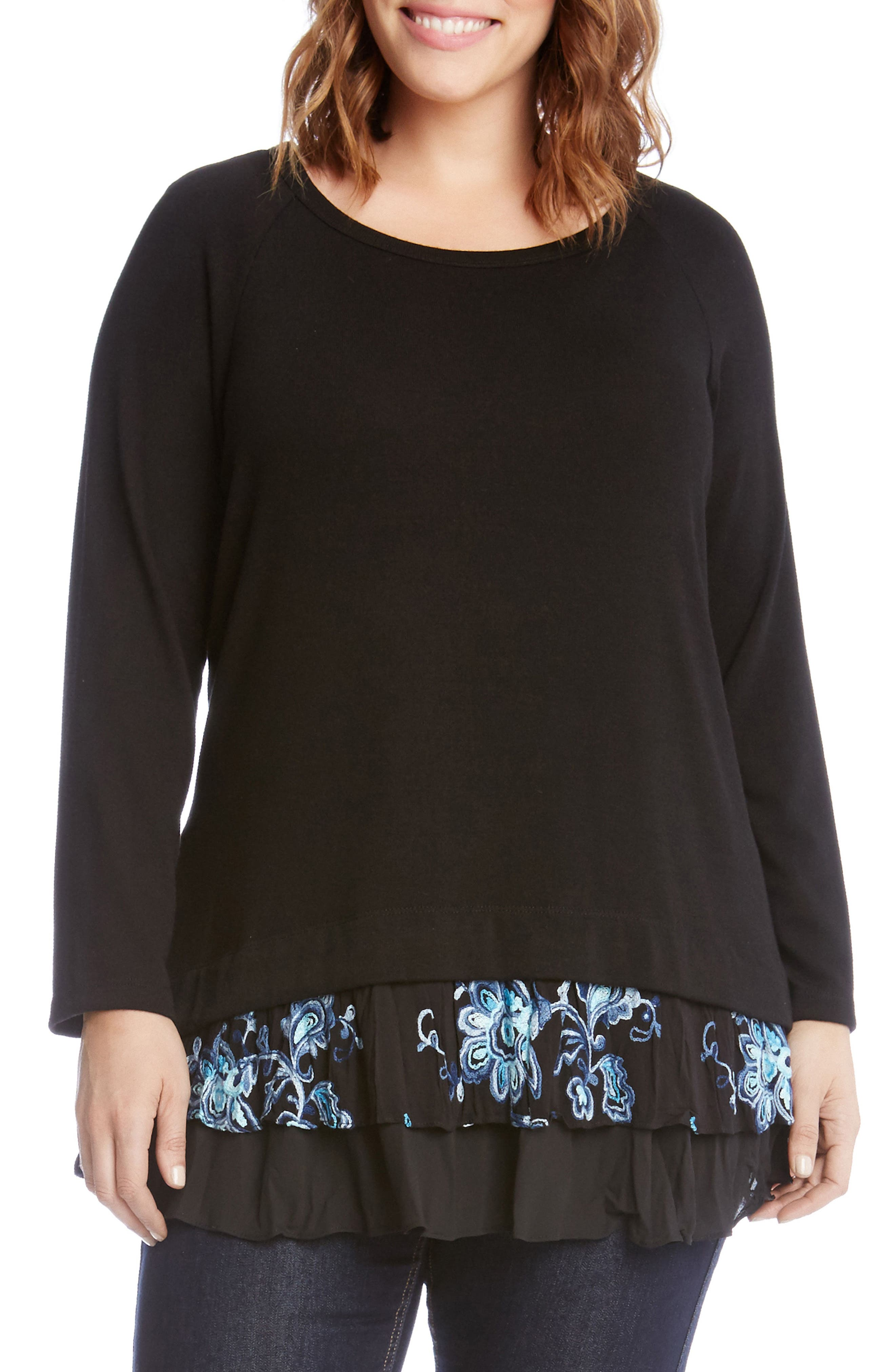 Flower Embroidery Layered Hem Top,                         Main,                         color, 001