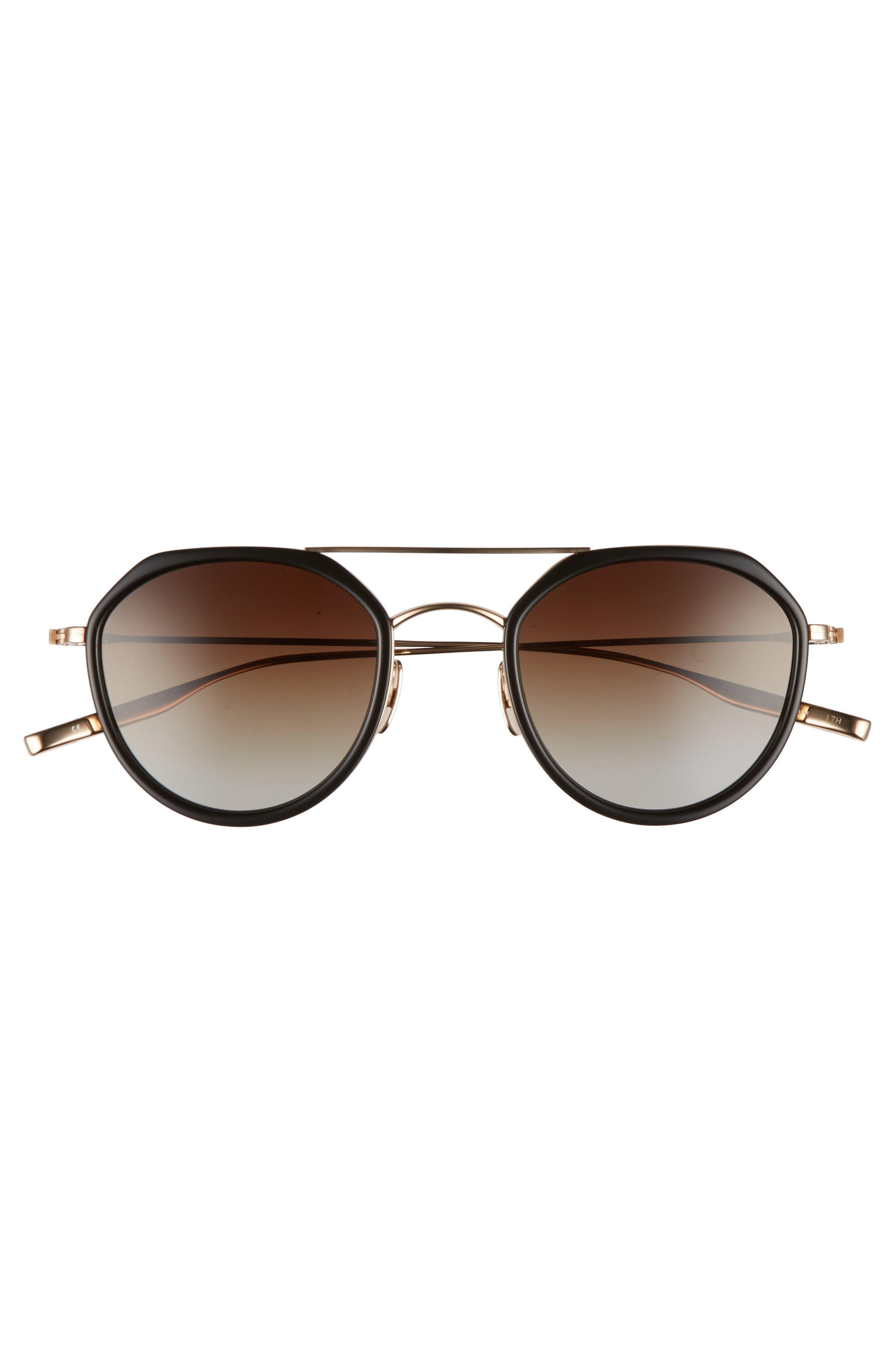 Dibergi Resin 50mm Polarized Round Sunglasses,                             Alternate thumbnail 3, color,                             BLACK/ HONEY GOLD