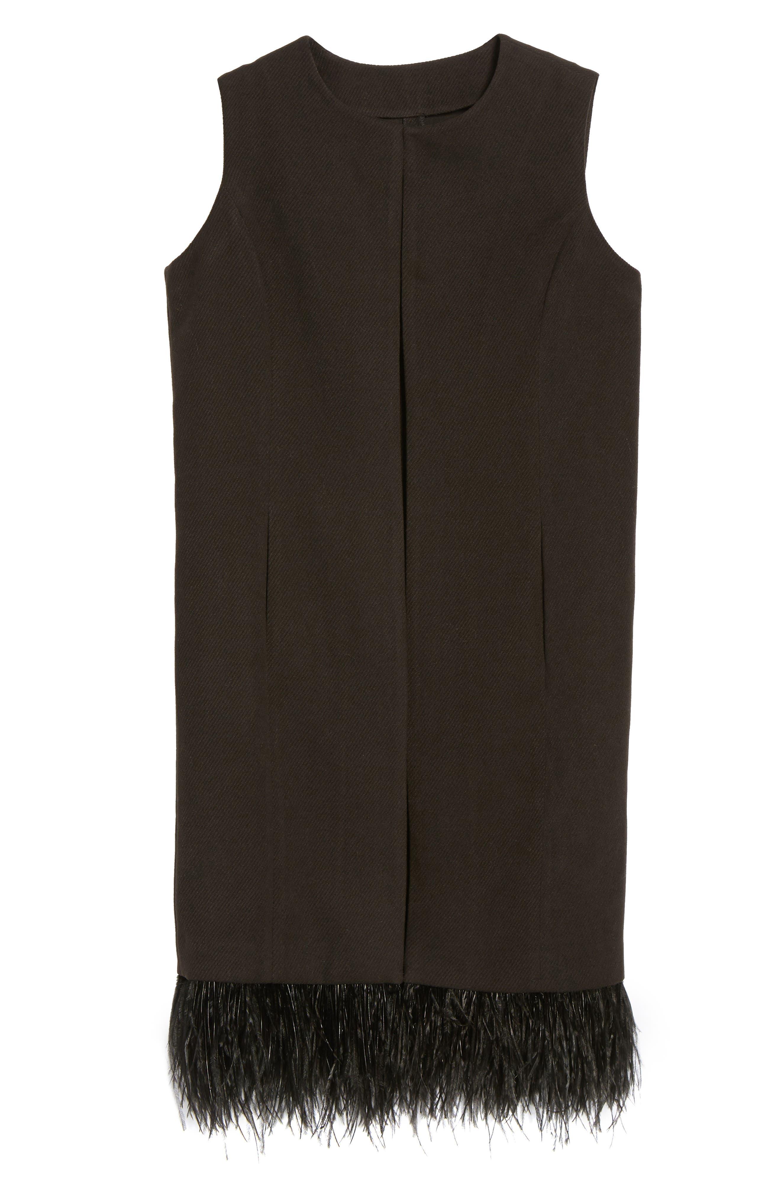 Faux Feather Trim Long Vest,                             Alternate thumbnail 5, color,                             001