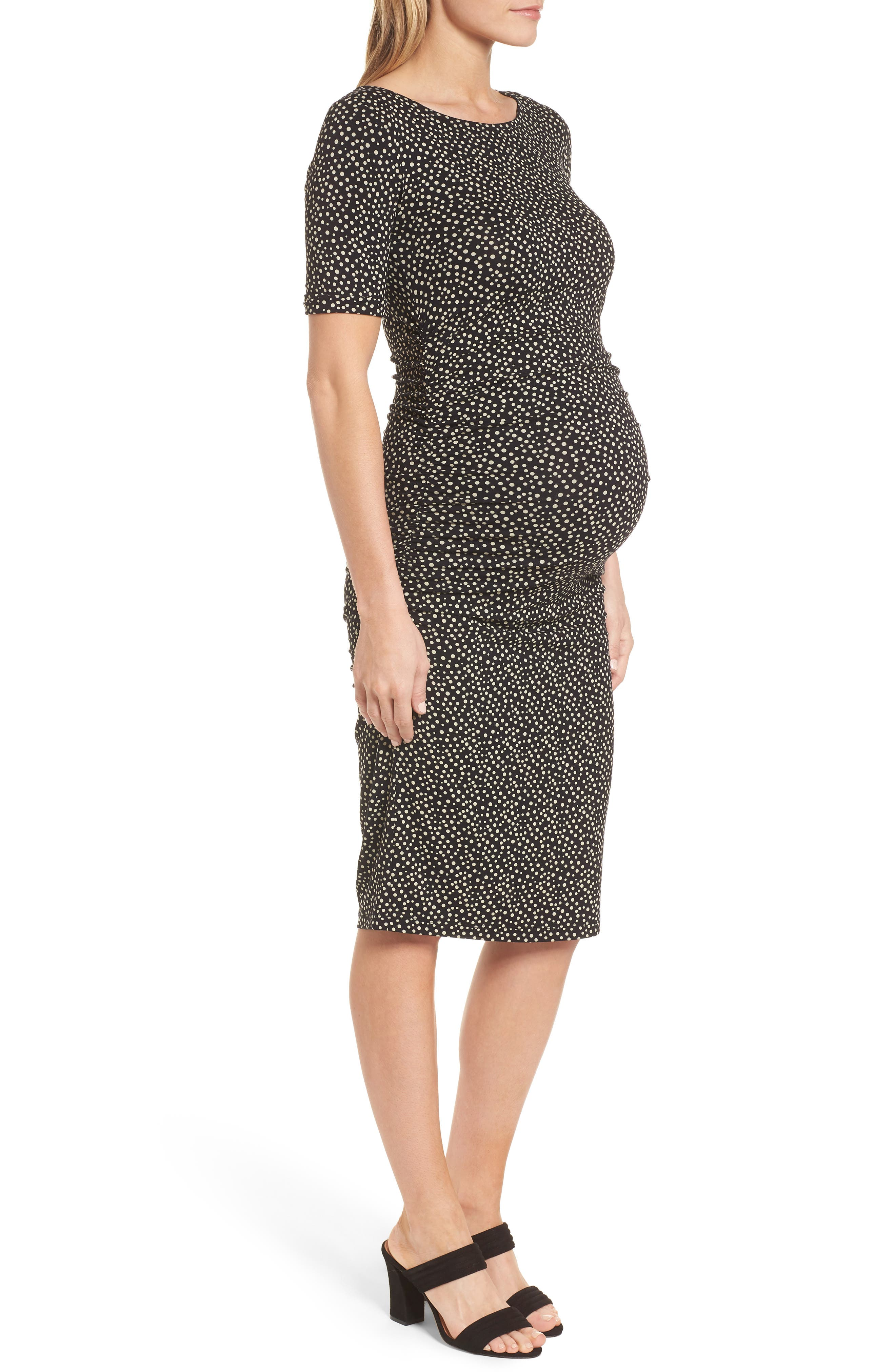 Danni Ruched Maternity Dress,                             Alternate thumbnail 3, color,                             POLKA PRINT