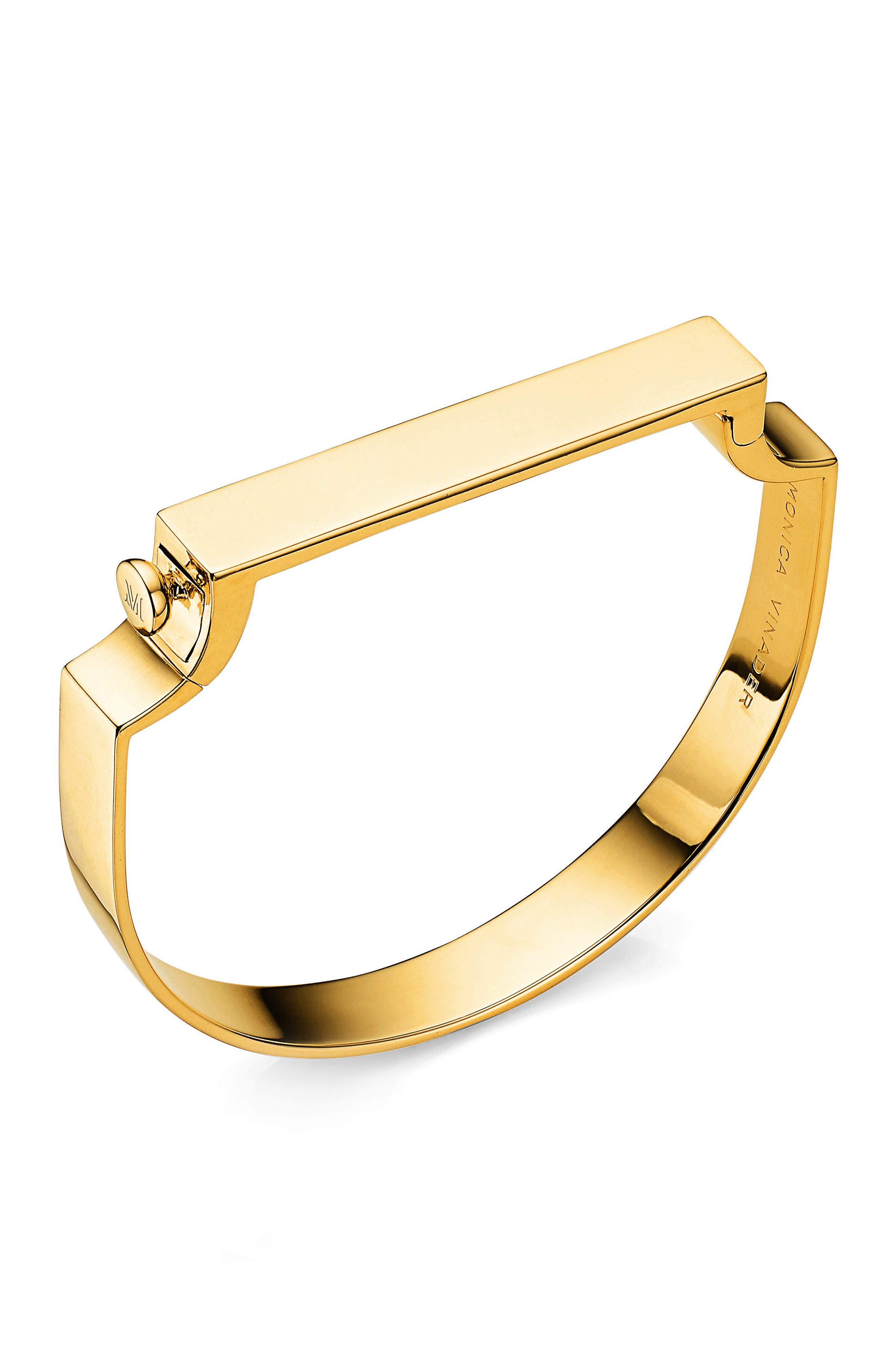 Engravable Large Signature Bracelet,                         Main,                         color, YELLOW GOLD