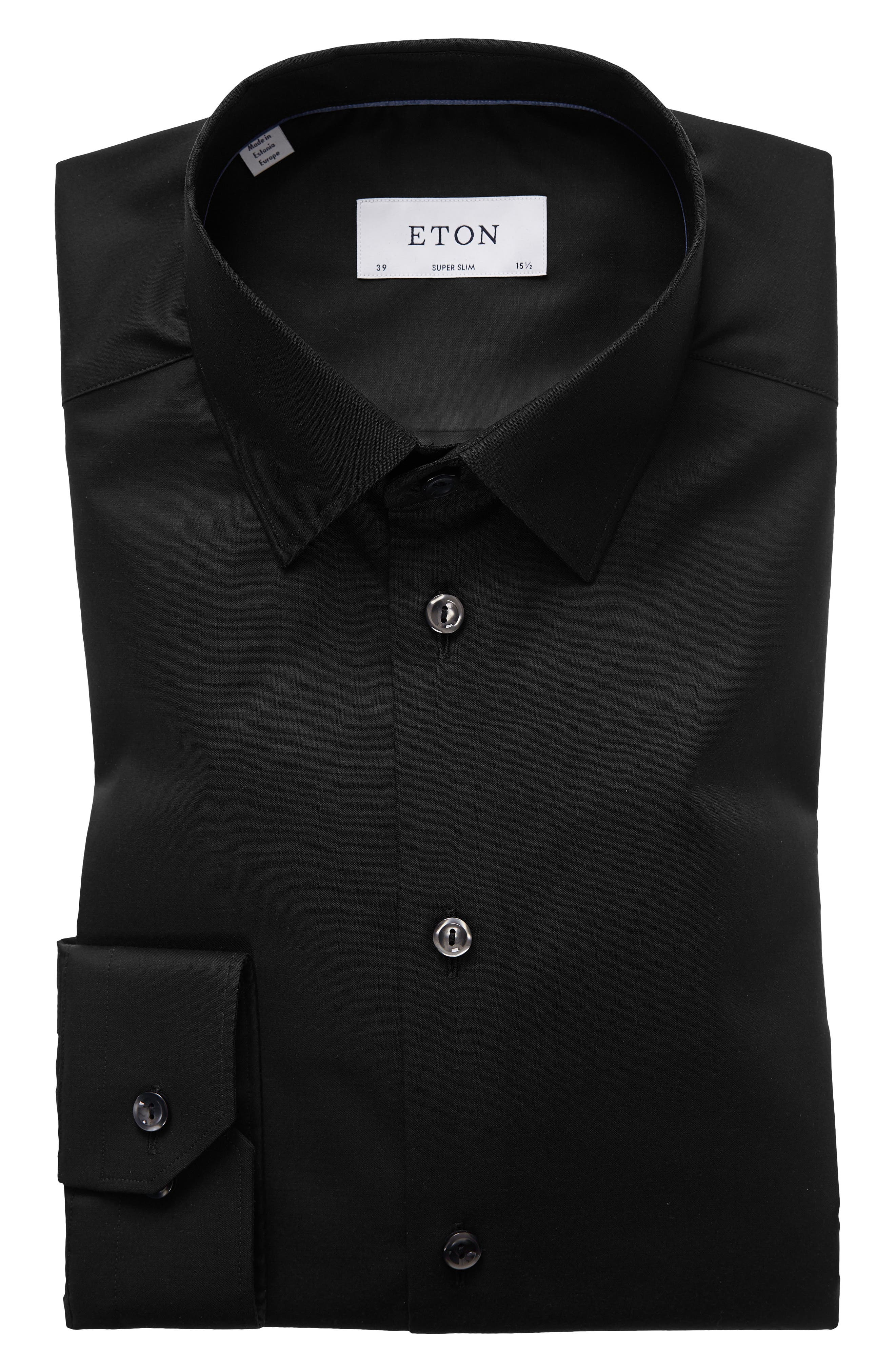 Super Slim Fit Solid Dress Shirt,                         Main,                         color, BLACK