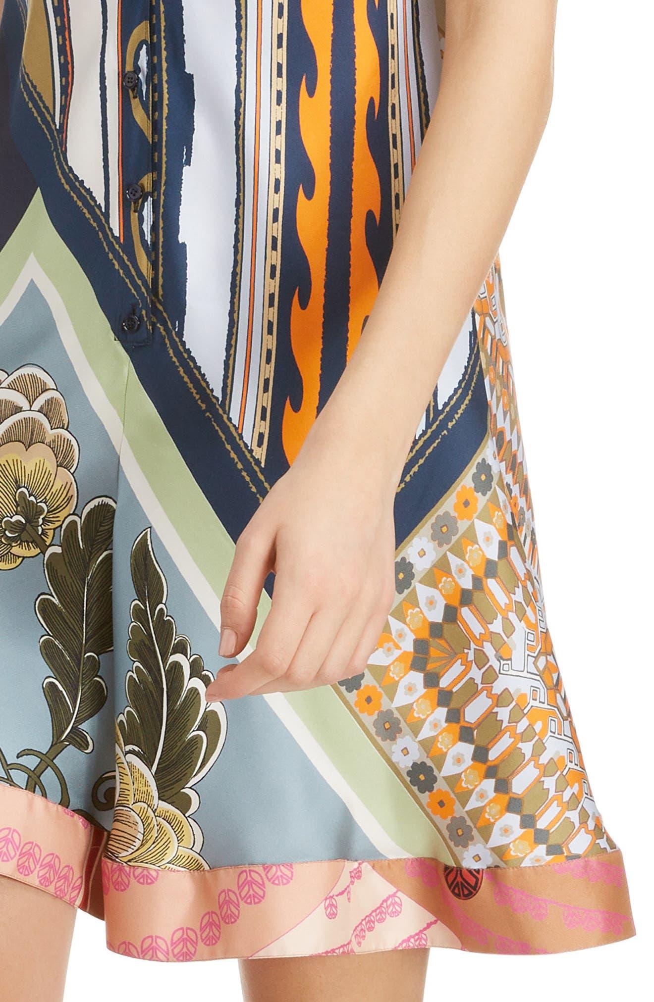 CHLOÉ,                             Caravan Print Silk Racerback Dress,                             Alternate thumbnail 4, color,                             MULTICOLOR BLUE
