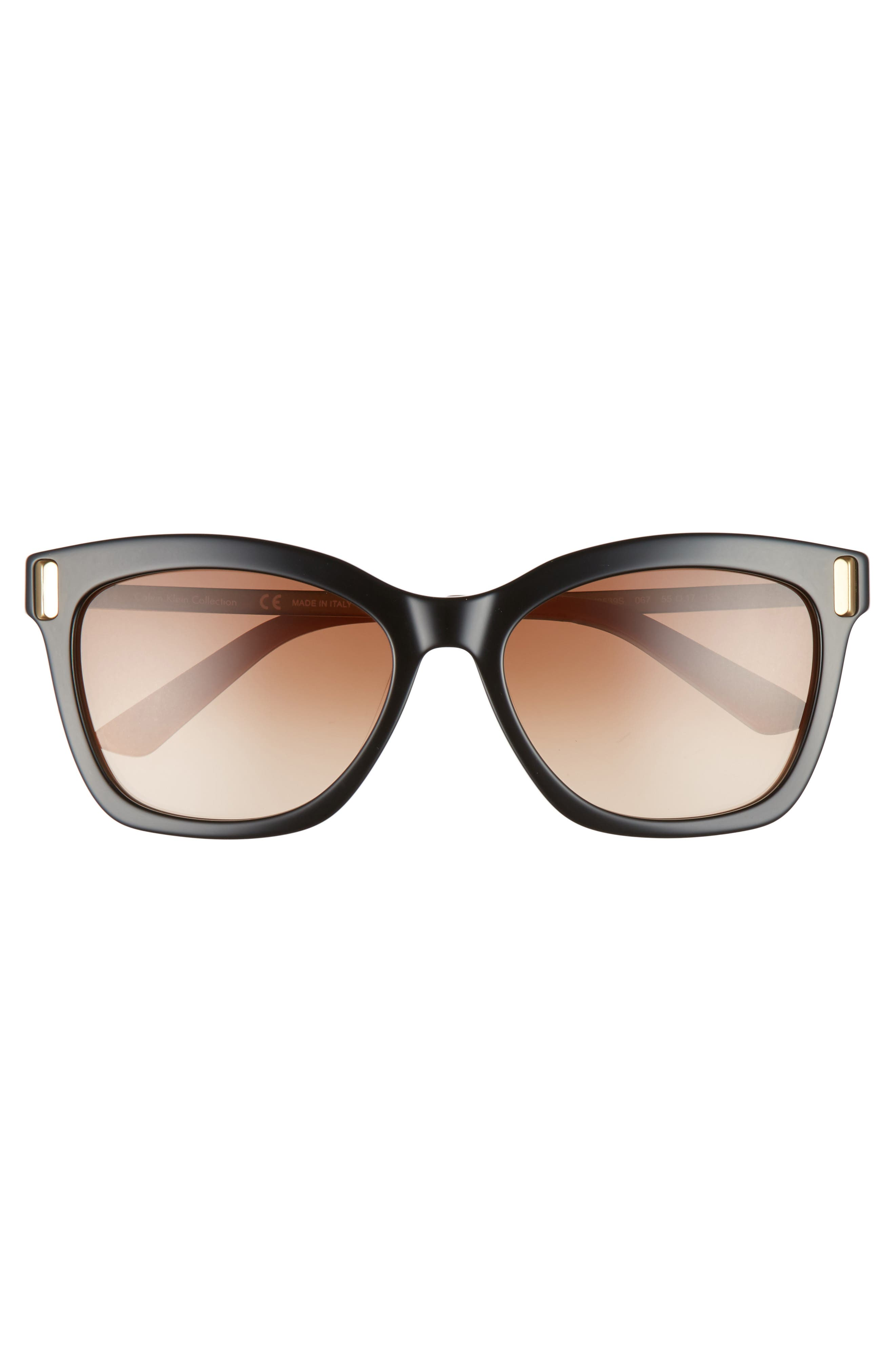 55mm Square Sunglasses,                             Alternate thumbnail 3, color,                             001