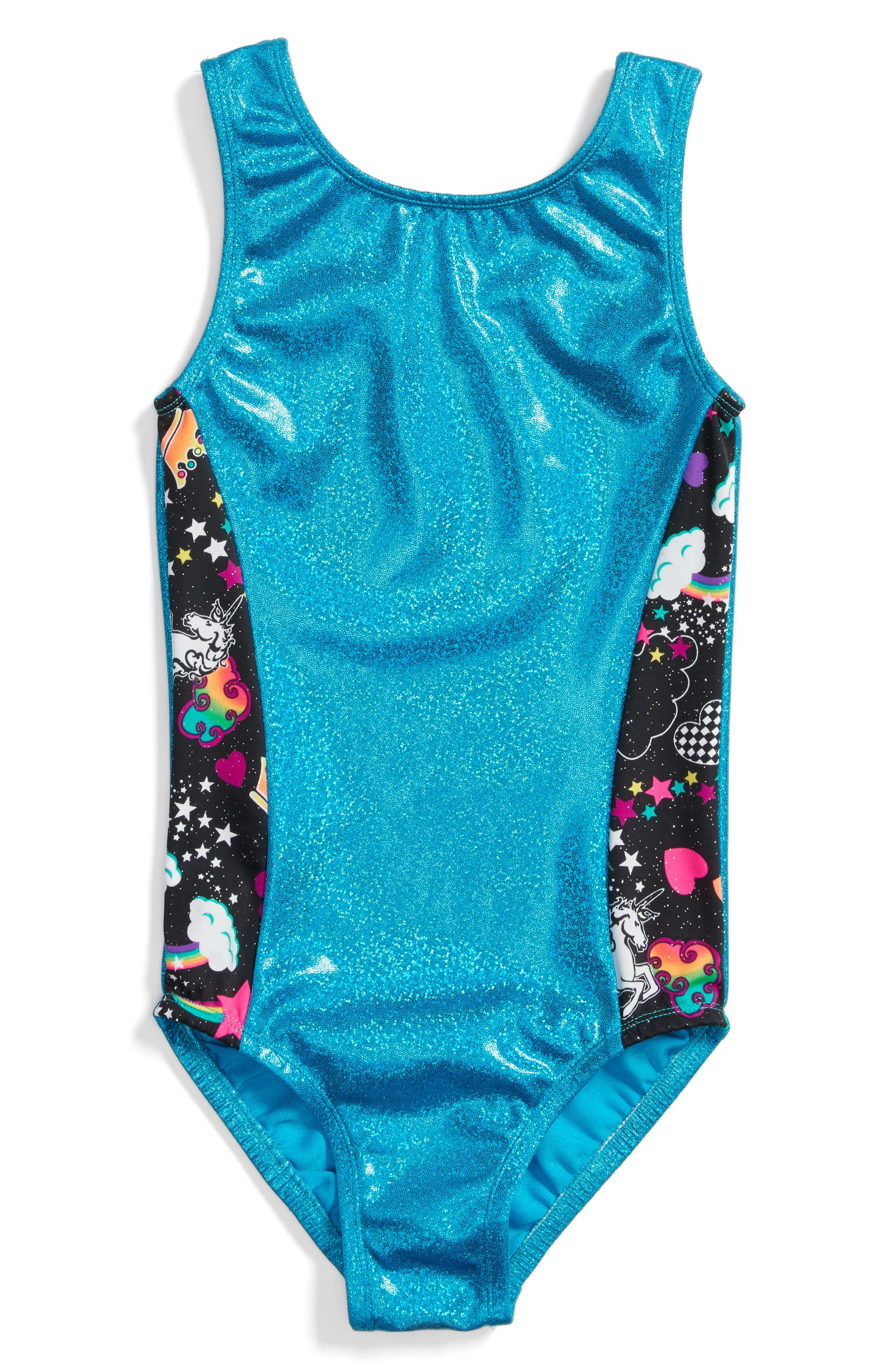 Glitter Unicorn Perfect Fit Leotard,                             Main thumbnail 1, color,                             TURQUOISE
