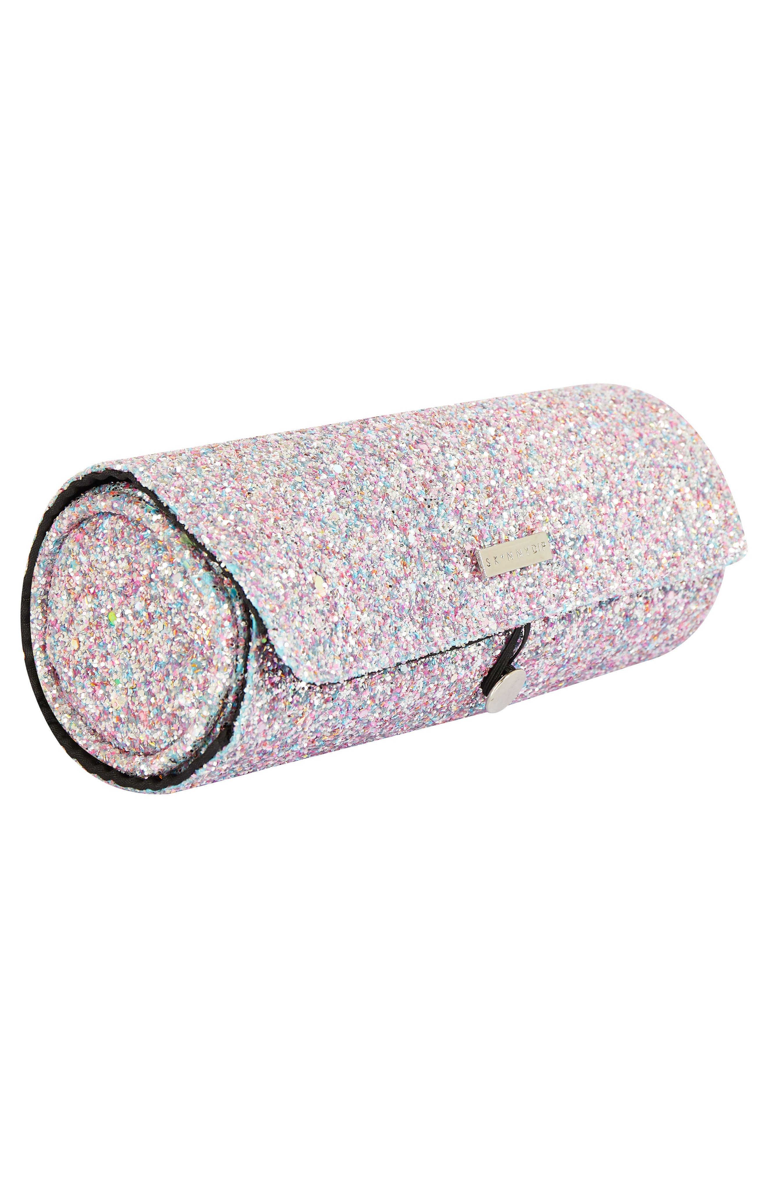 Skinny Dip Treasure Glitter Cosmetics Roll Bag,                             Alternate thumbnail 2, color,                             000
