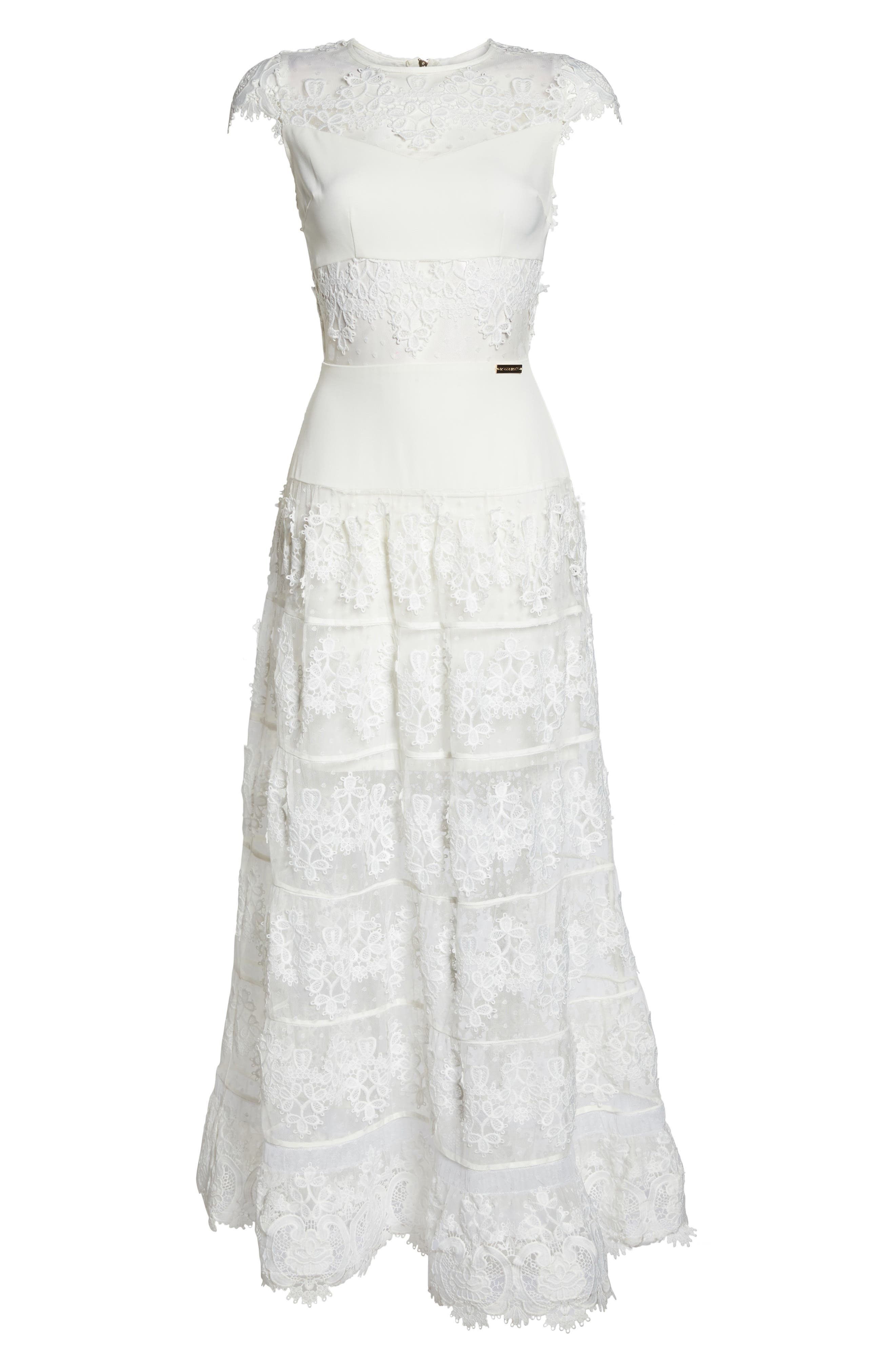 Flamenco Lace Inset Gown,                             Alternate thumbnail 6, color,                             WHITE