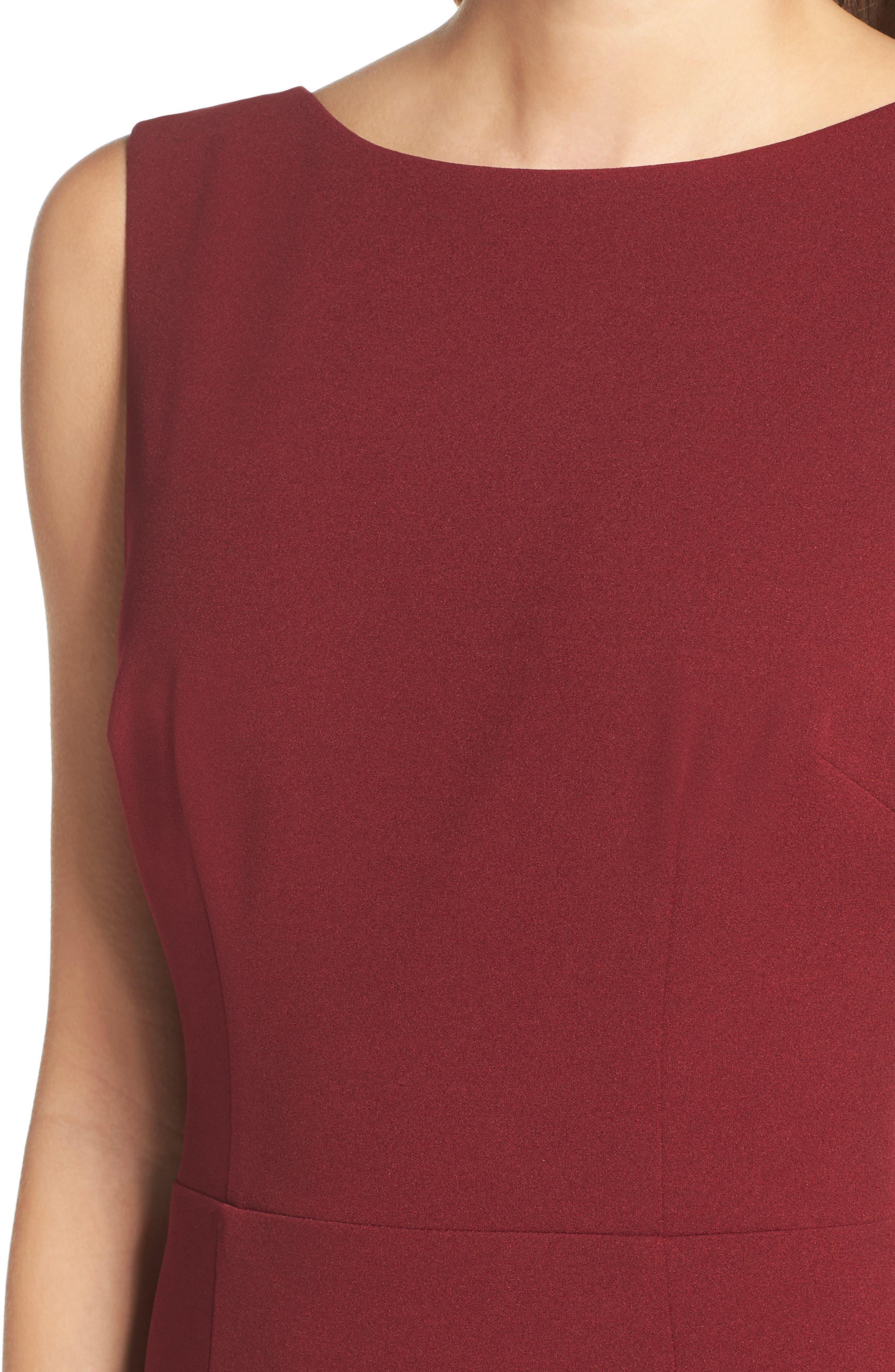 Vionnet Drape Back Crepe Gown,                             Alternate thumbnail 4, color,                             BORDEAUX